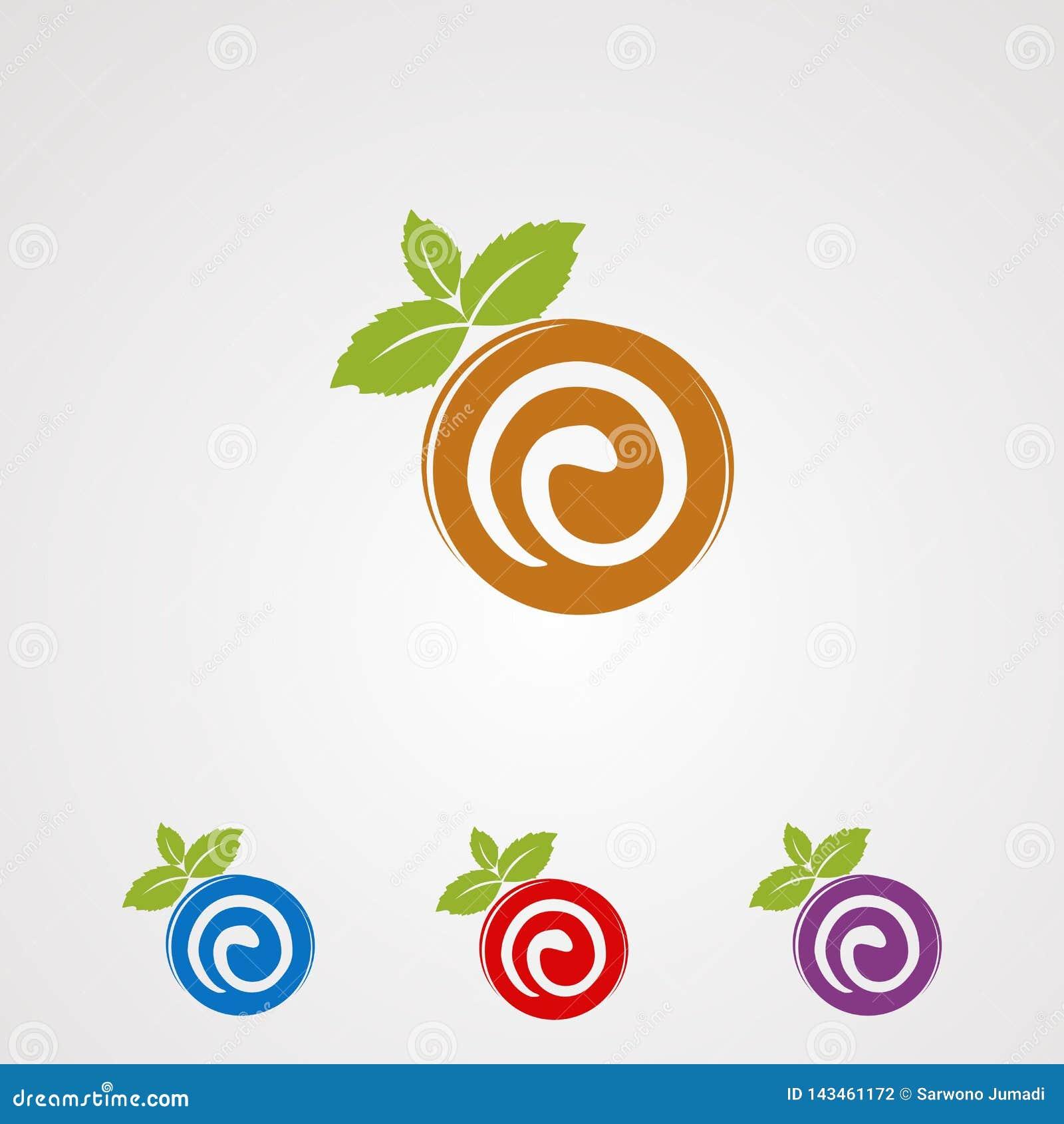 Stacza się tort z nowym liścia logo wektorem, ikoną, elementem i szablonem dla firmy,