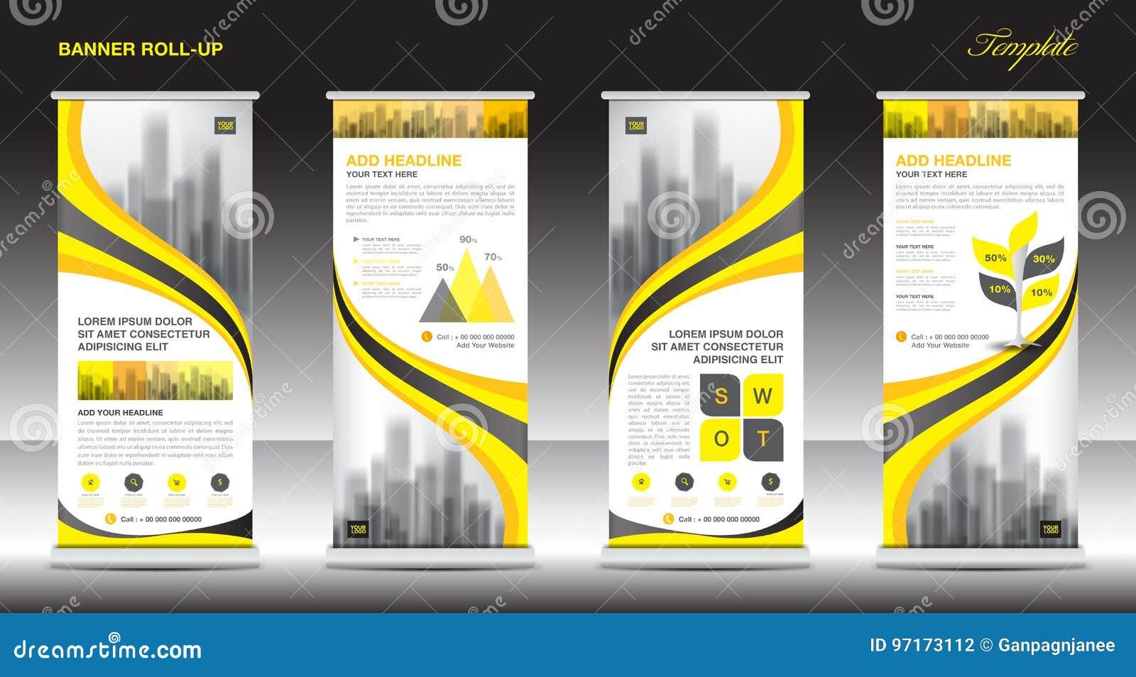 Stacza się up sztandaru szablonu statywowego projekt, Żółty sztandaru układ