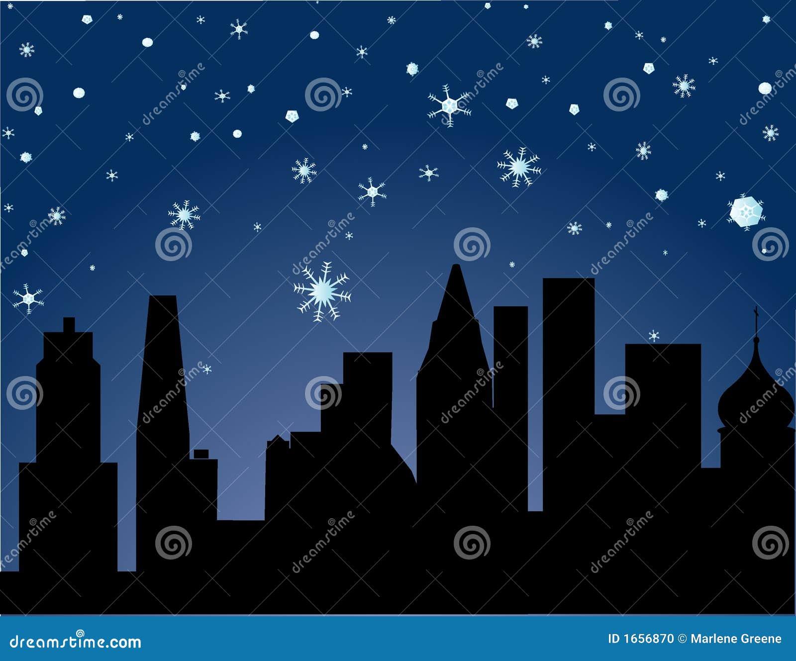 Stad in de Winter - sterrige nacht