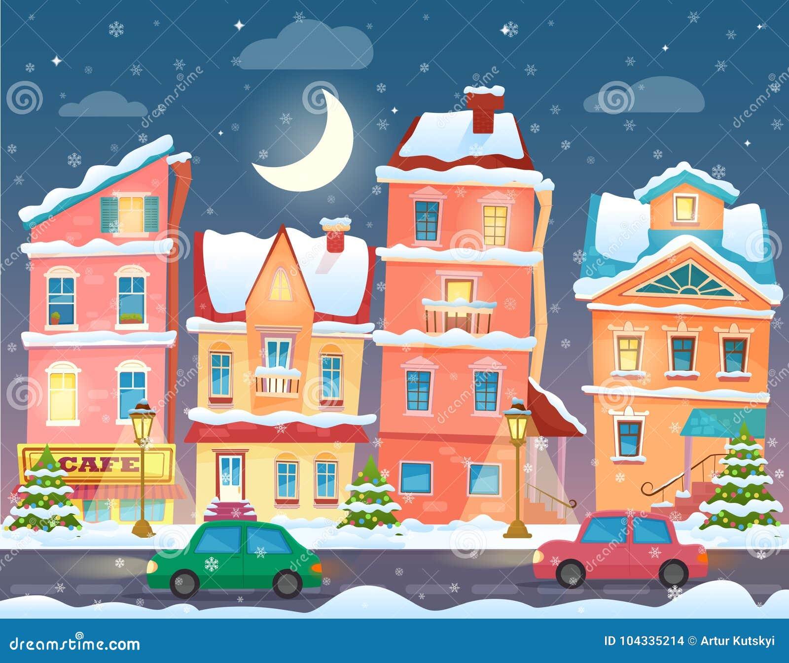 Stad för jultecknad filmvinter i natt bakgrundstecknad film isolerade white för llustrationtreevektor