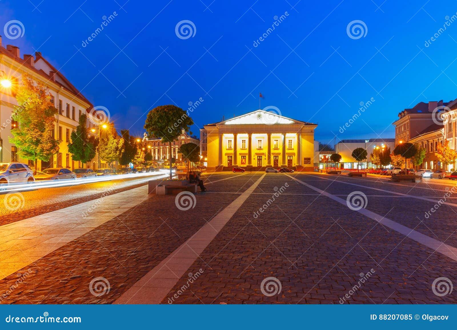 Stad Hall Square bij nacht, Vilnius, Litouwen