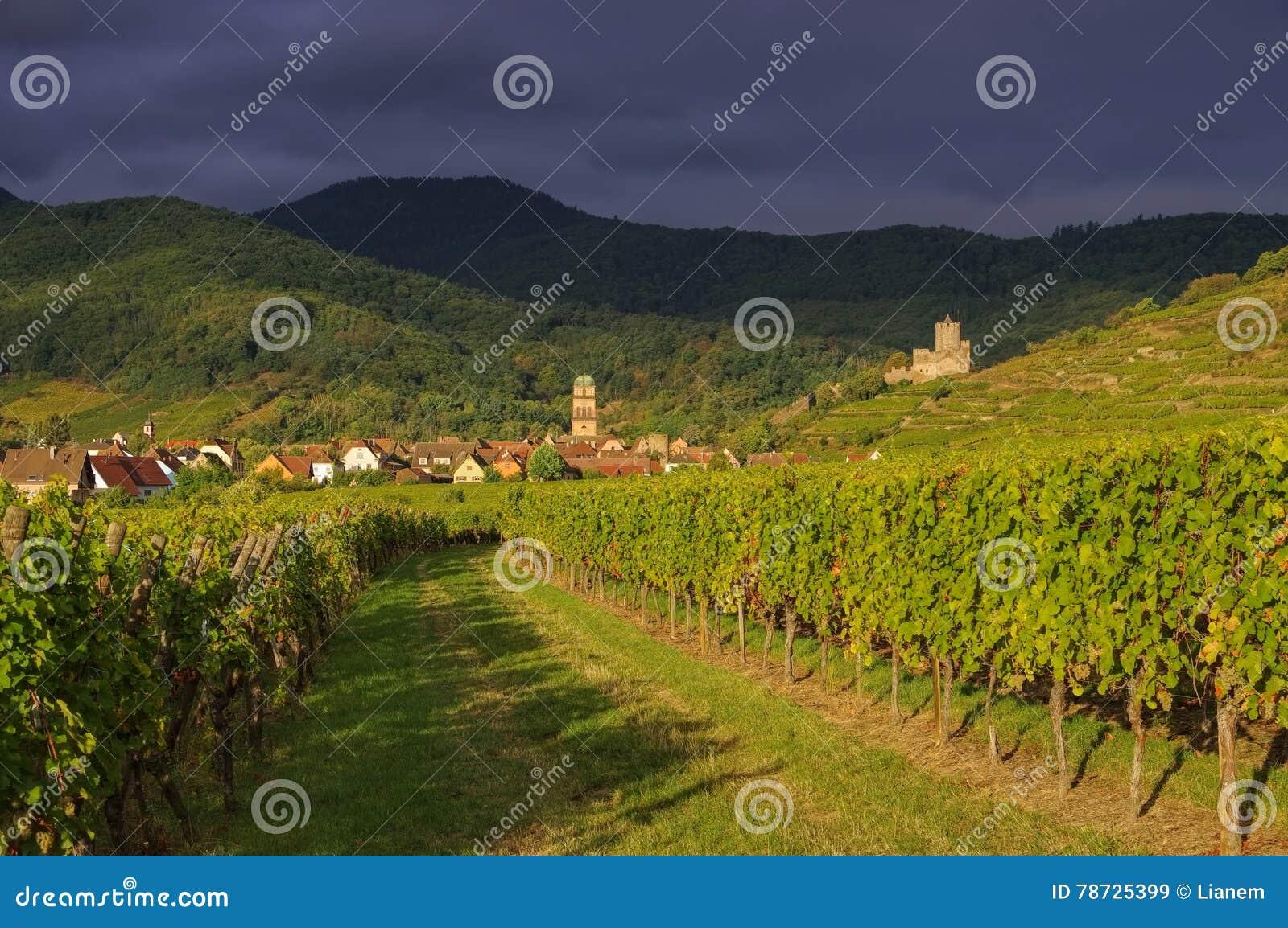 Stad Kaysersberg i Alsace, Frankrike