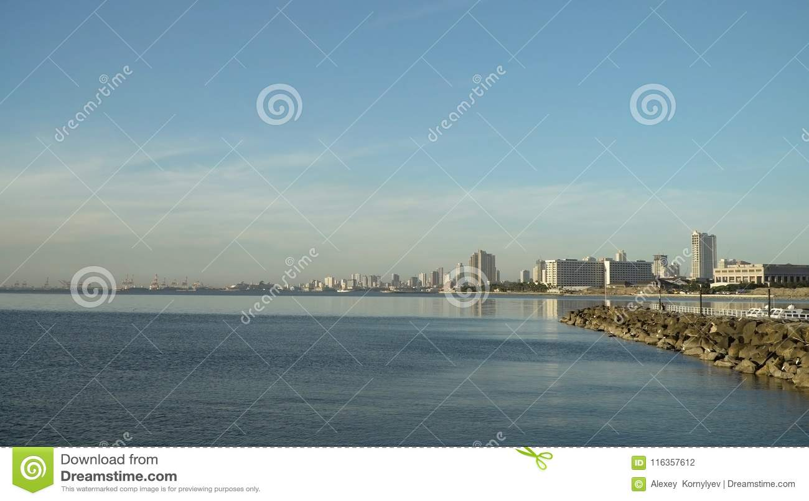 Stad med skyskrapor och byggnader Filippinerna Manila, Makati