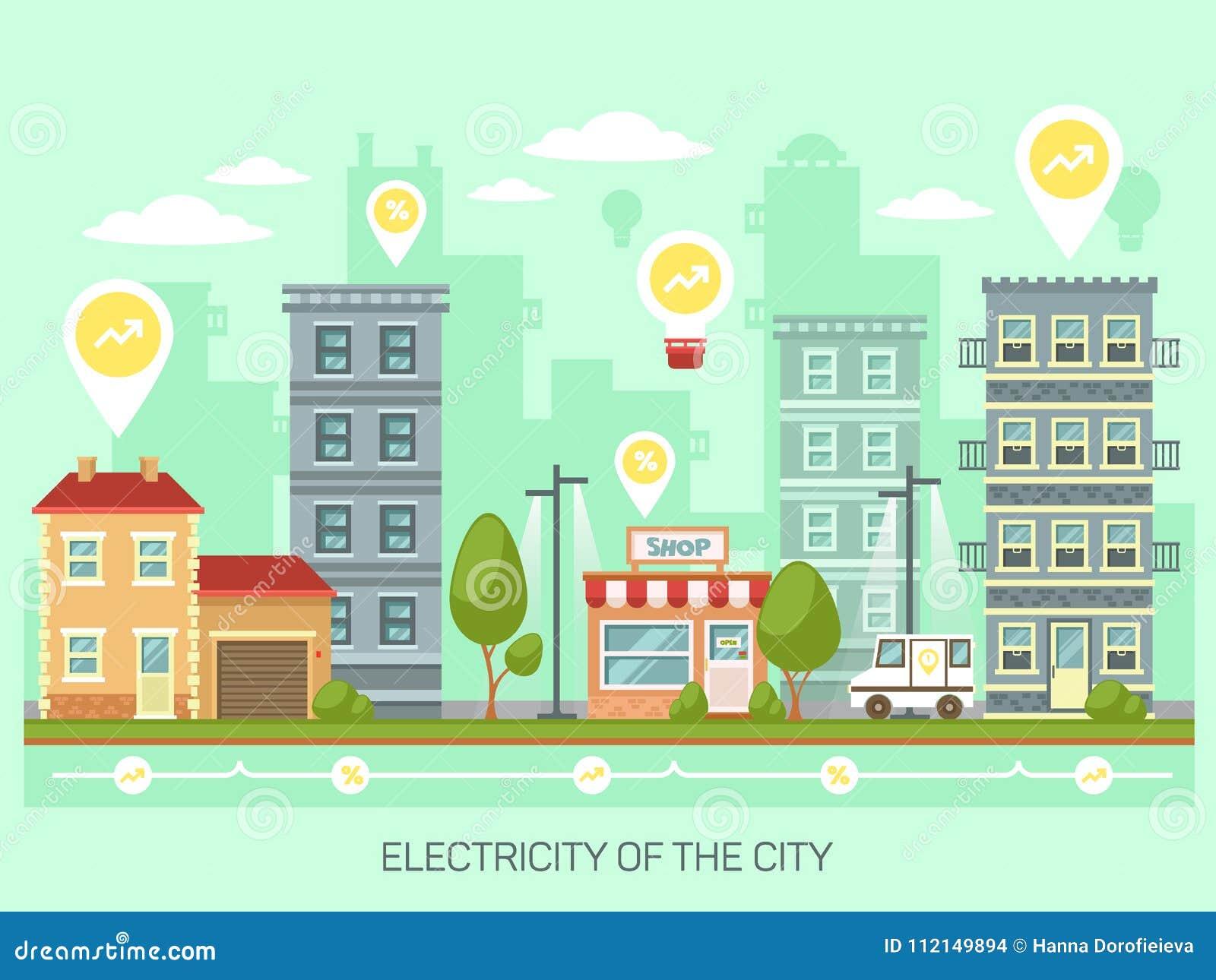 Stad of stad met energie - besparings gloeilampen