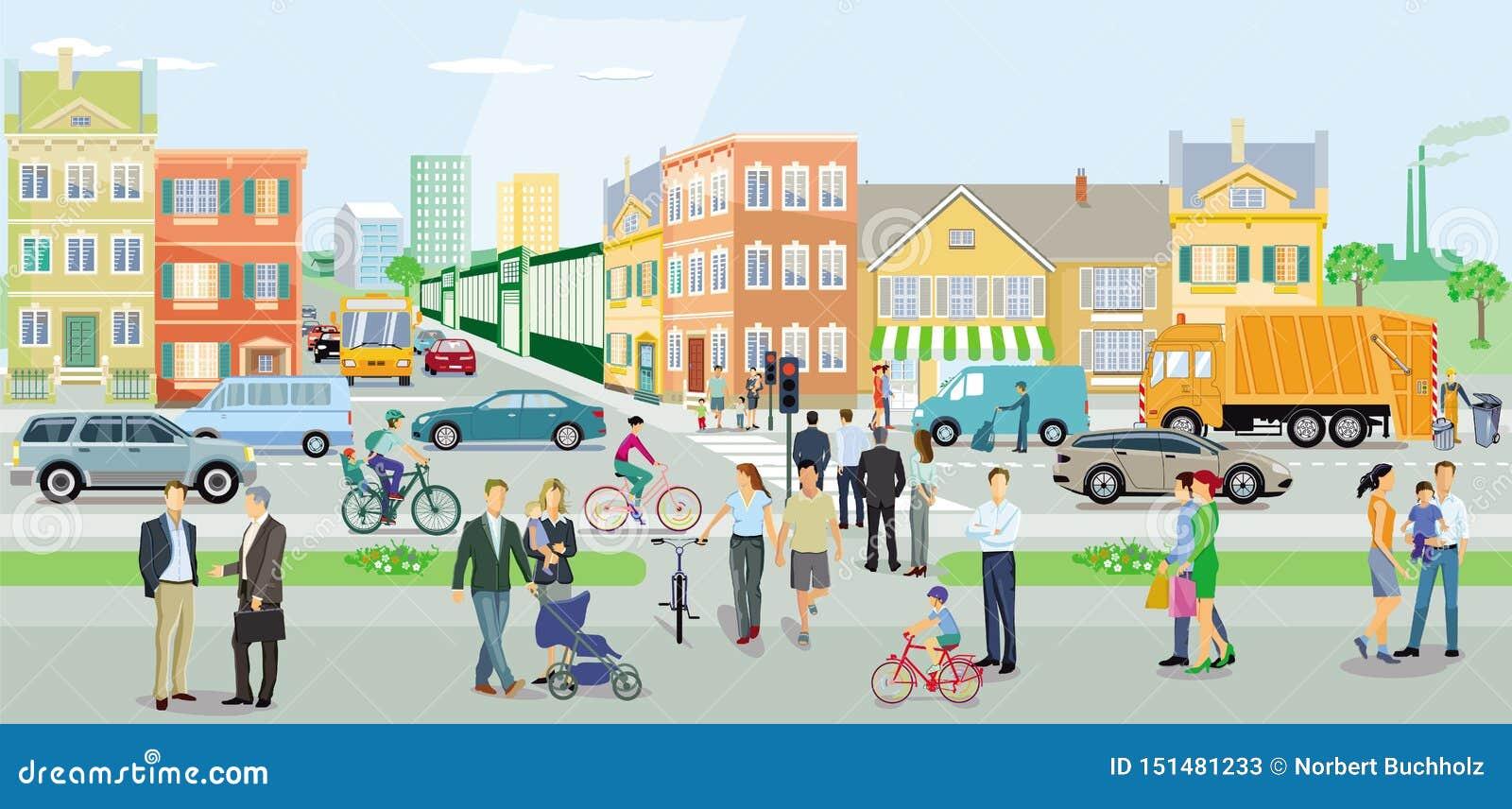 Stad met verkeer en voetgangers
