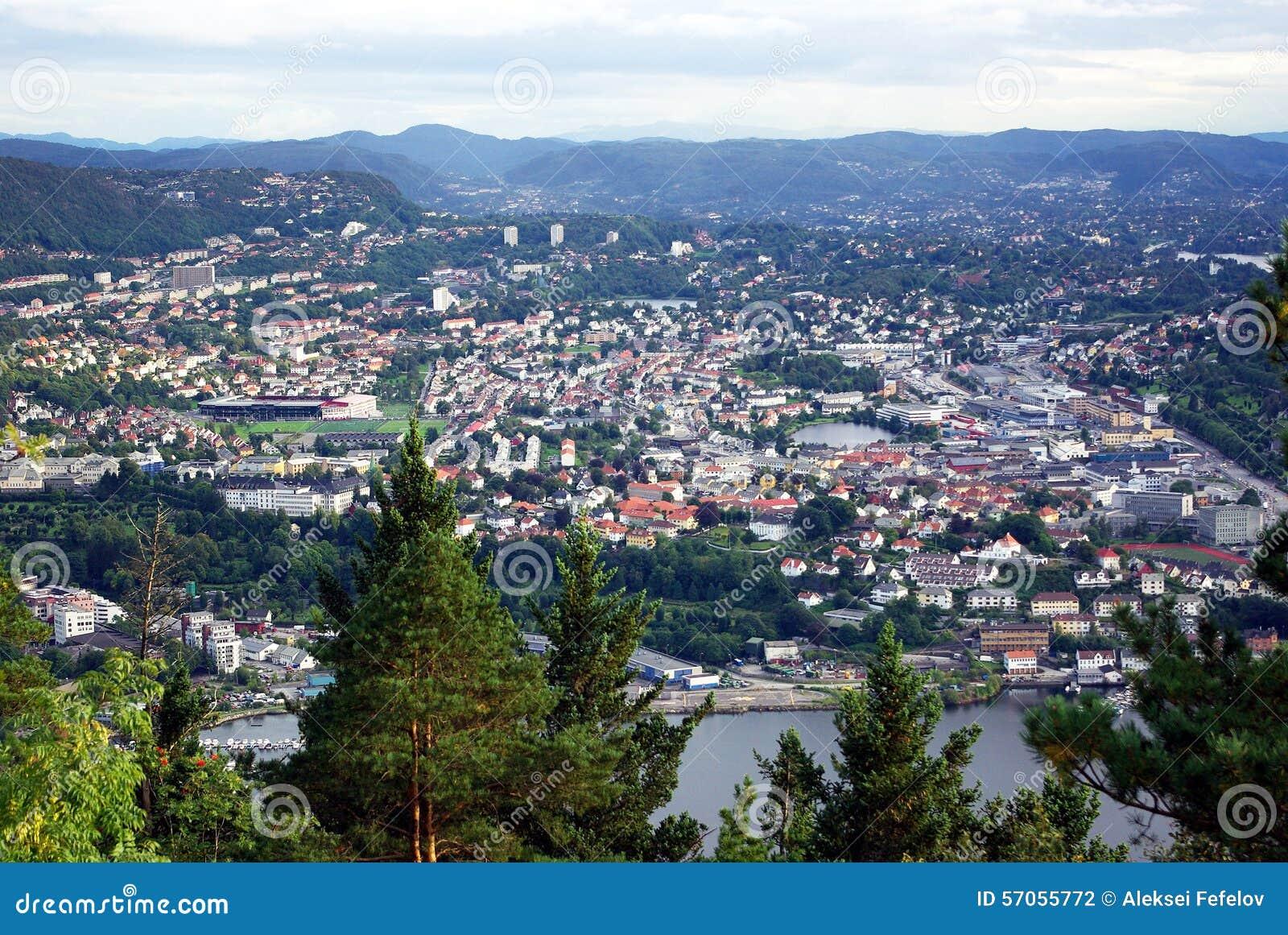 Stad van Bergen noorwegen