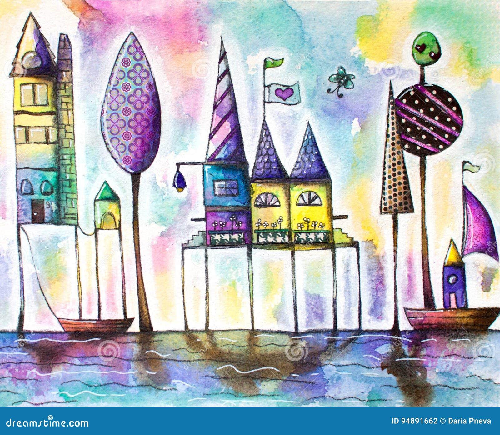 Stad van waterverf de magische huizen, straat