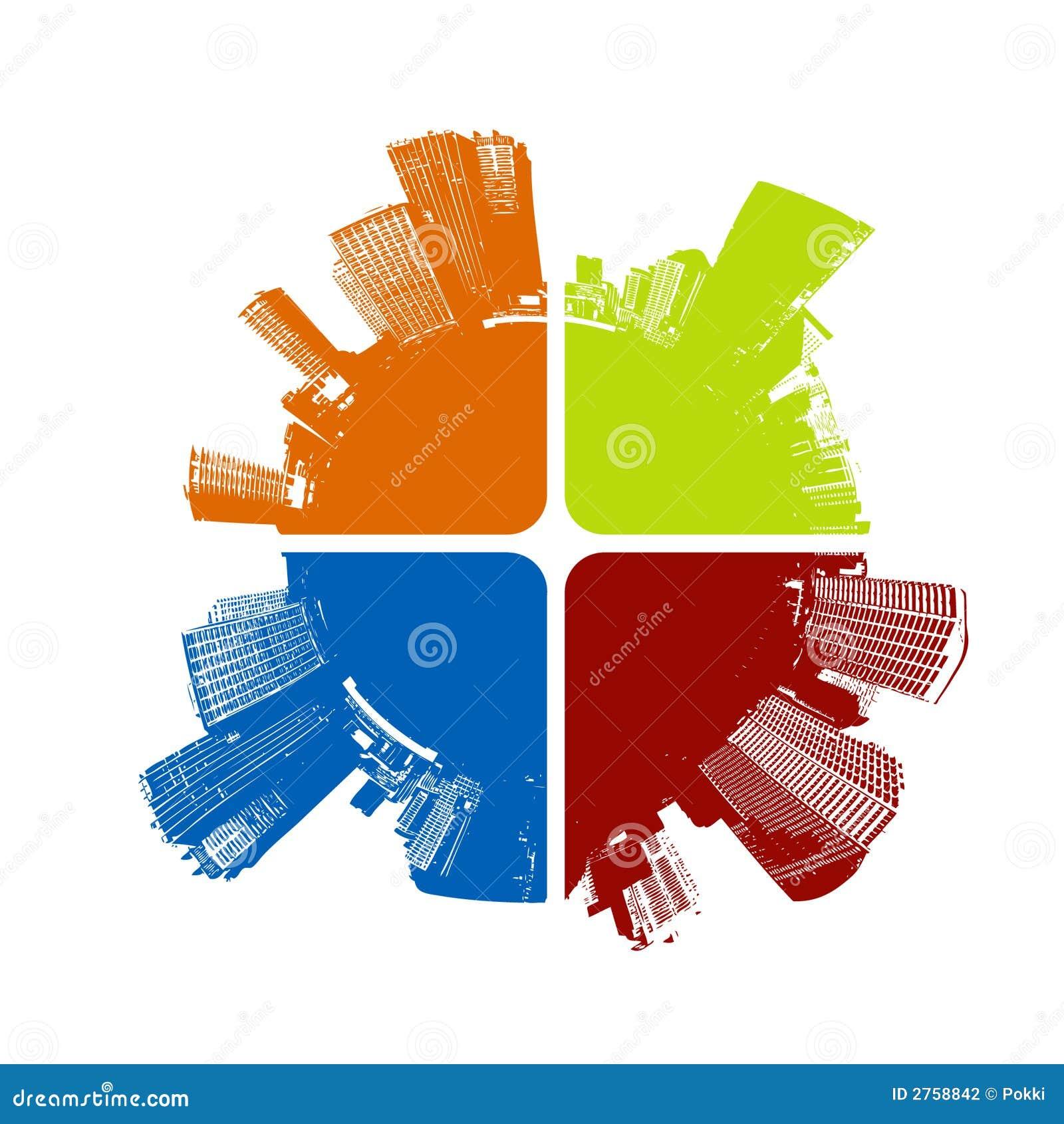 Stad in vier kleuren. Vector