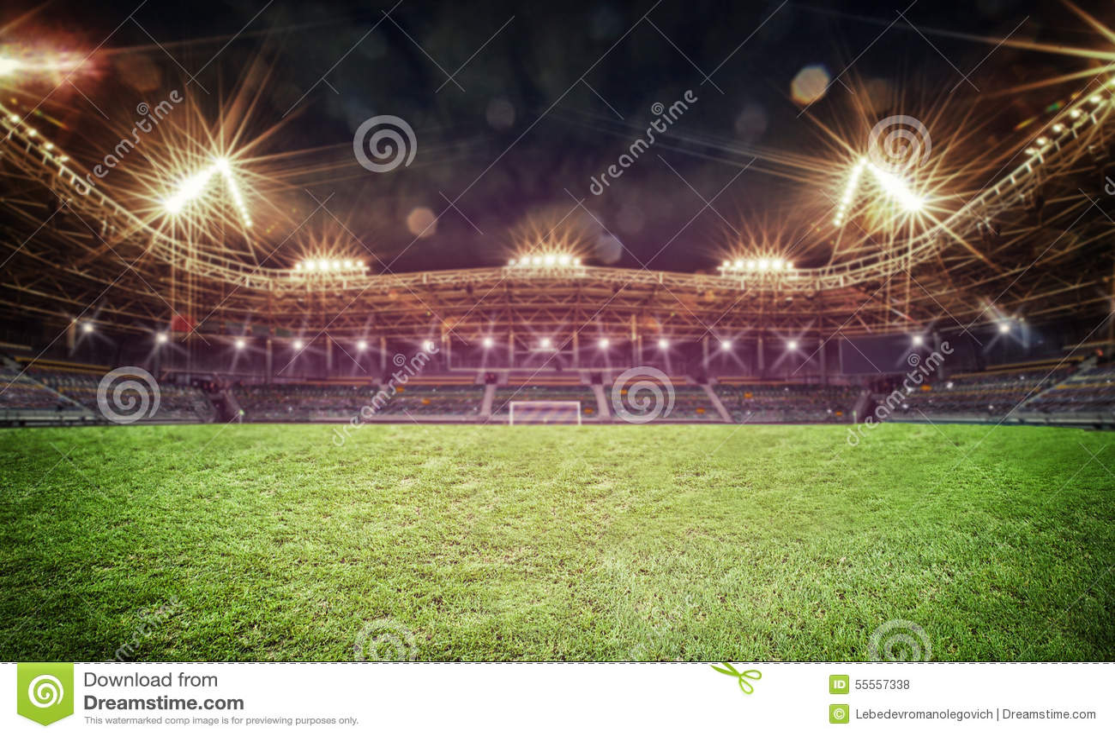 Stade dans les lumières