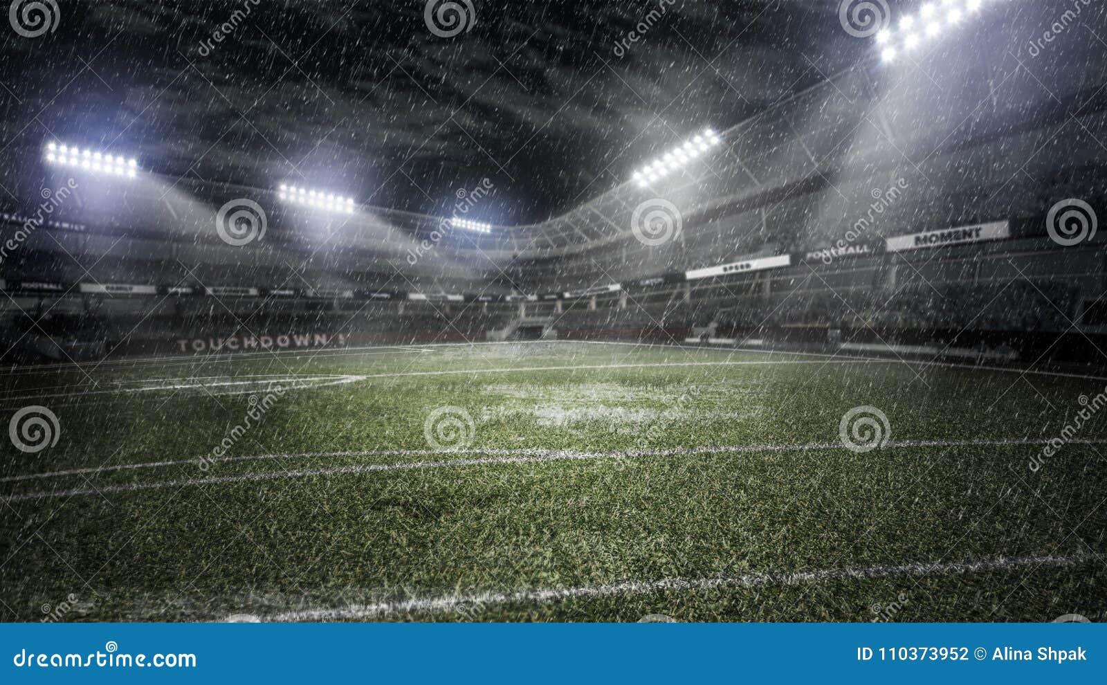 Stade de football pluvieux dans les rayons légers à l illustration de la nuit 3d