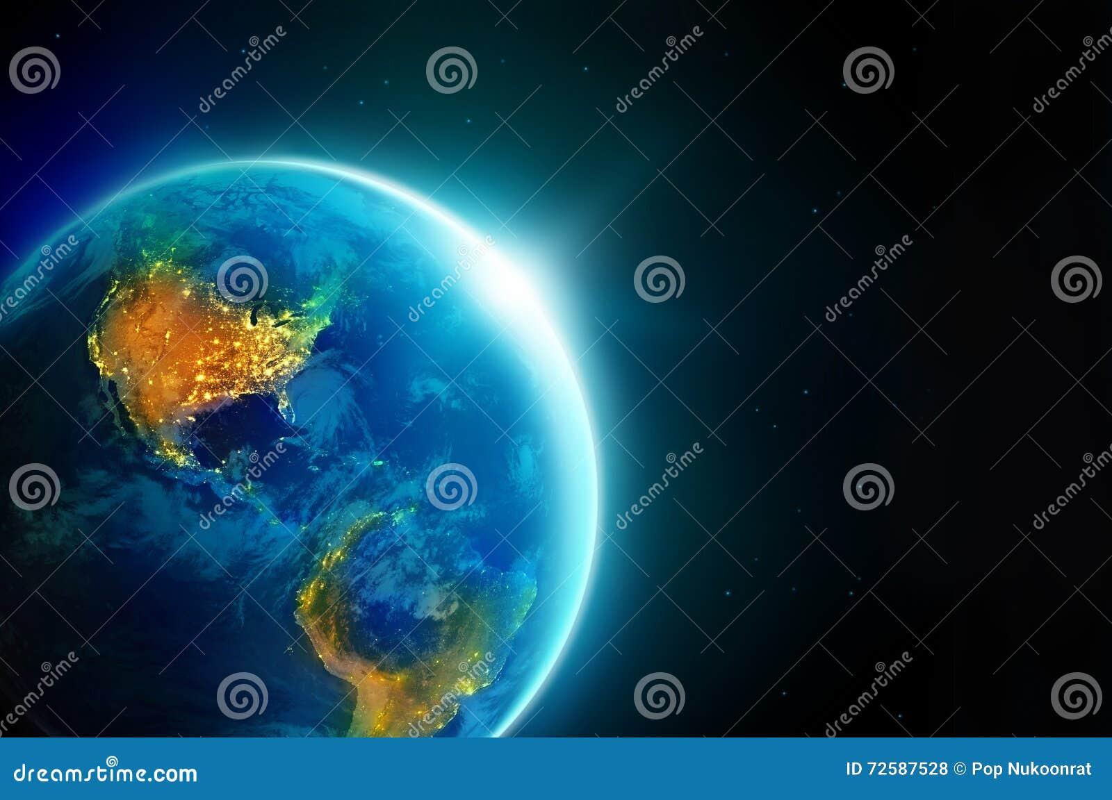 Staden tänder Amerika på natten i planetjord med solresning