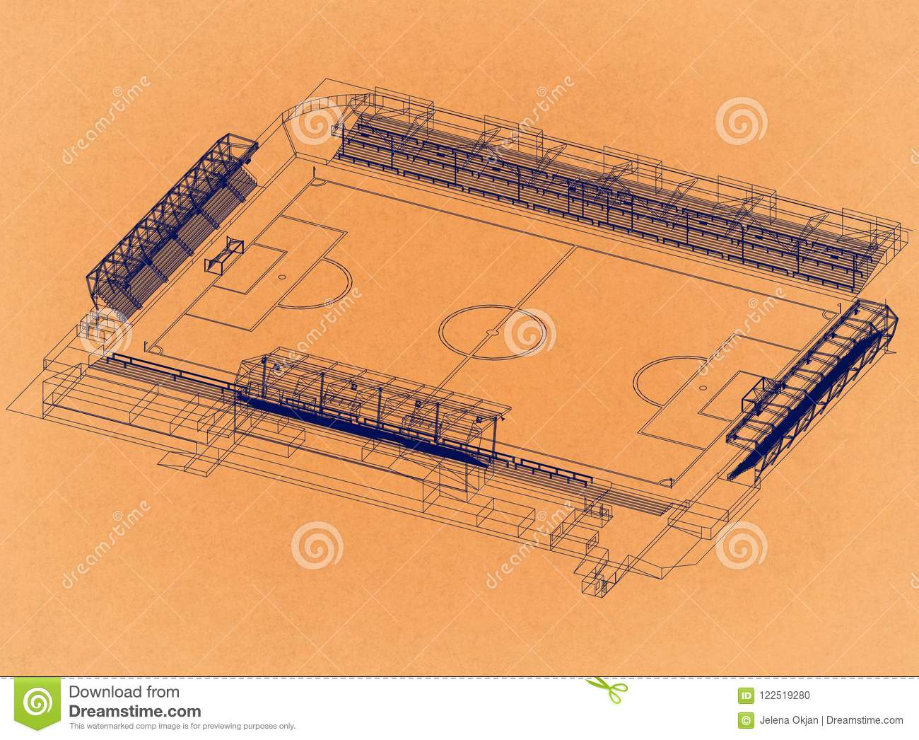 Stadio di football americano - retro architetto Blueprint