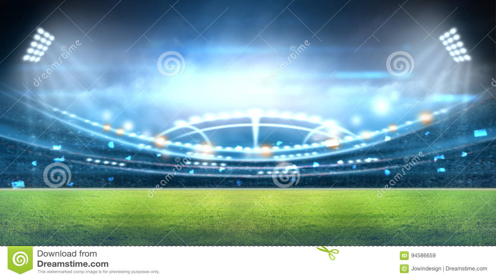 Stadion i ljus och exponeringar 3d
