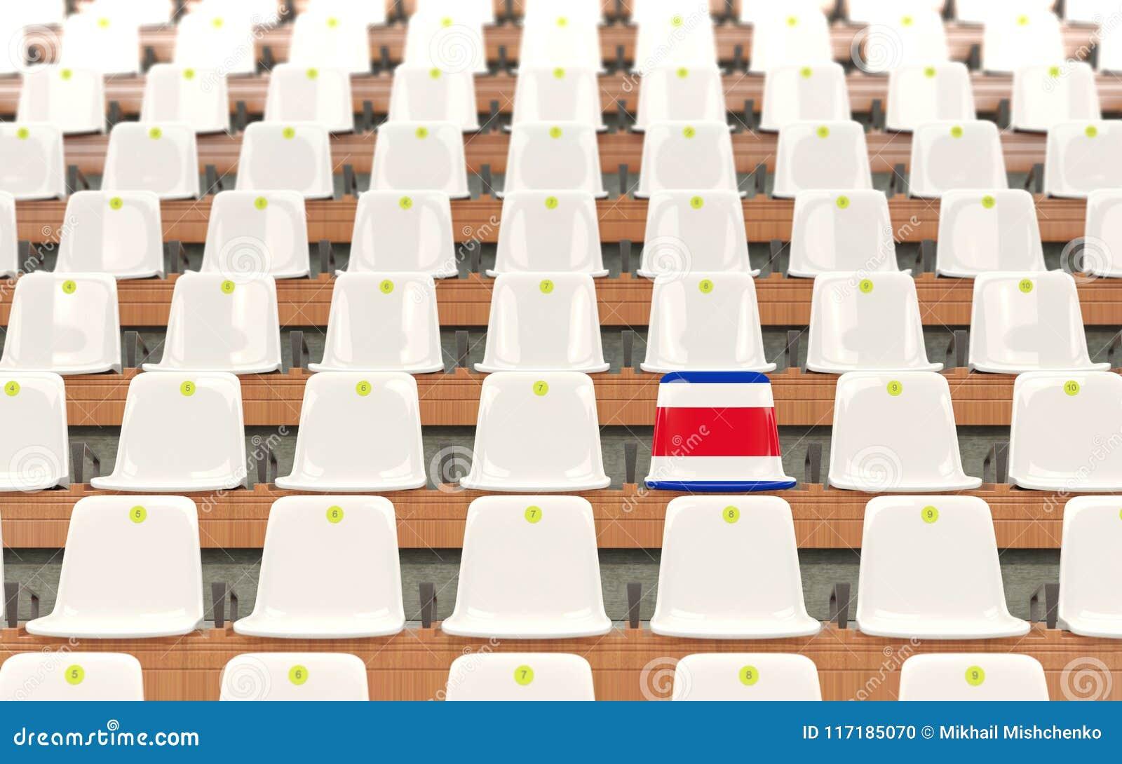 Stadionplats med flaggan av Costa Rica