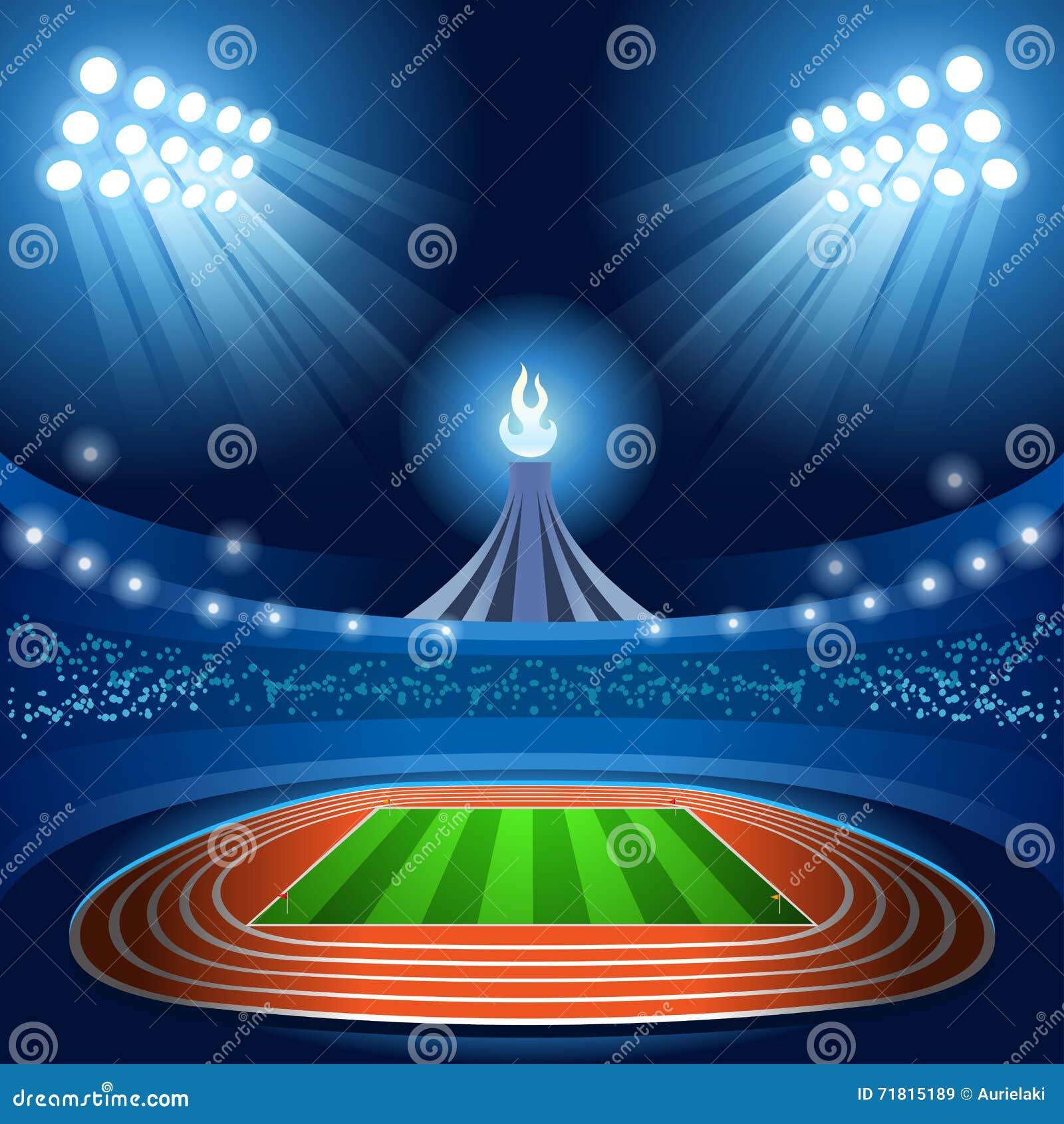 Stadium Background Olympic Rhythmic Gymnastics Female Athlete with Ribbon Equipment Gymnast on Field Background