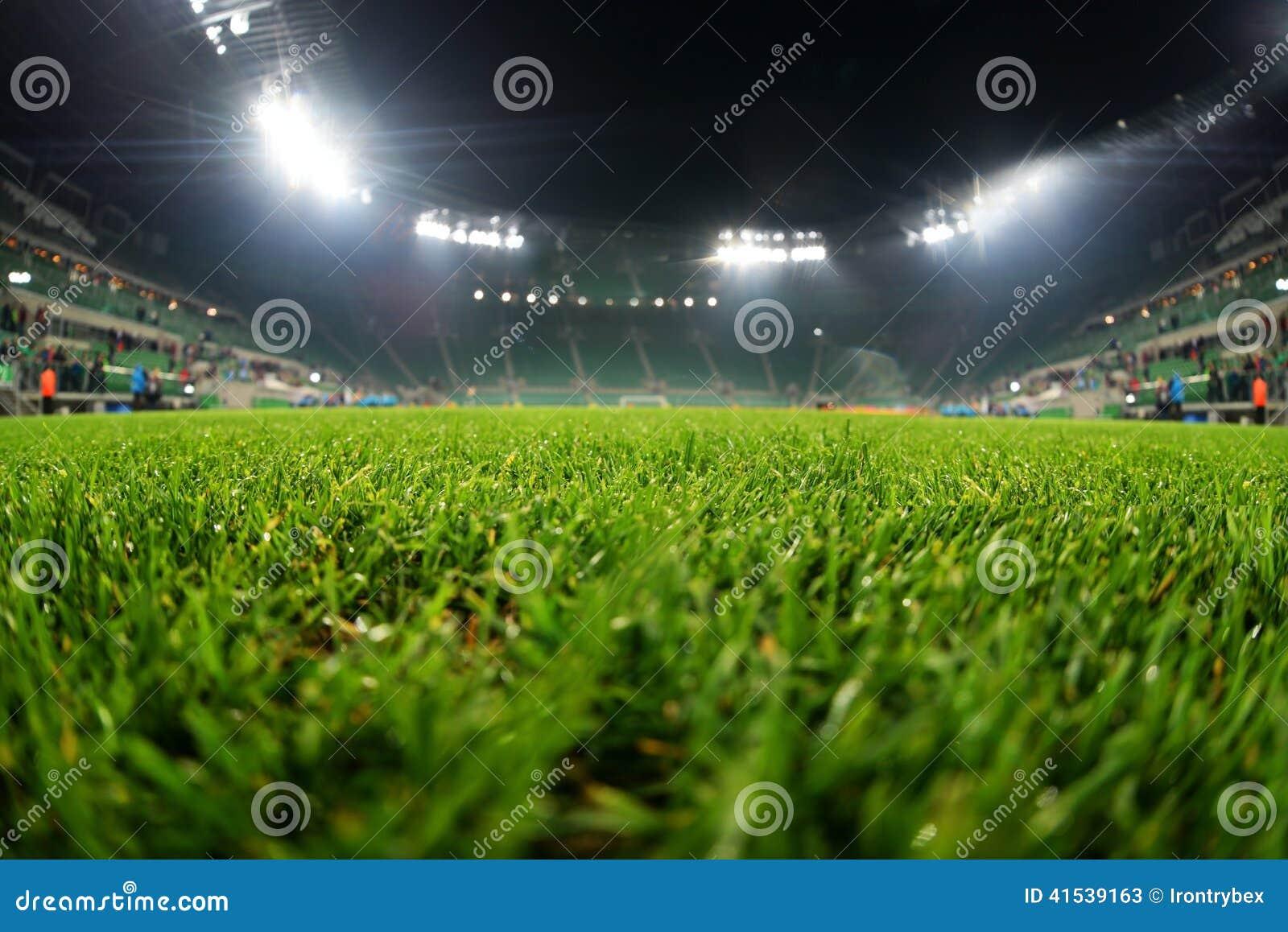 stadium  close up on grass stock photo