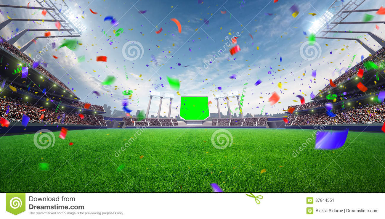 Download Stadium Day Confetti And Tinsel With People Fans. 3d Render Illustration Cloudy Stock Image - Image of night, football: 87844551