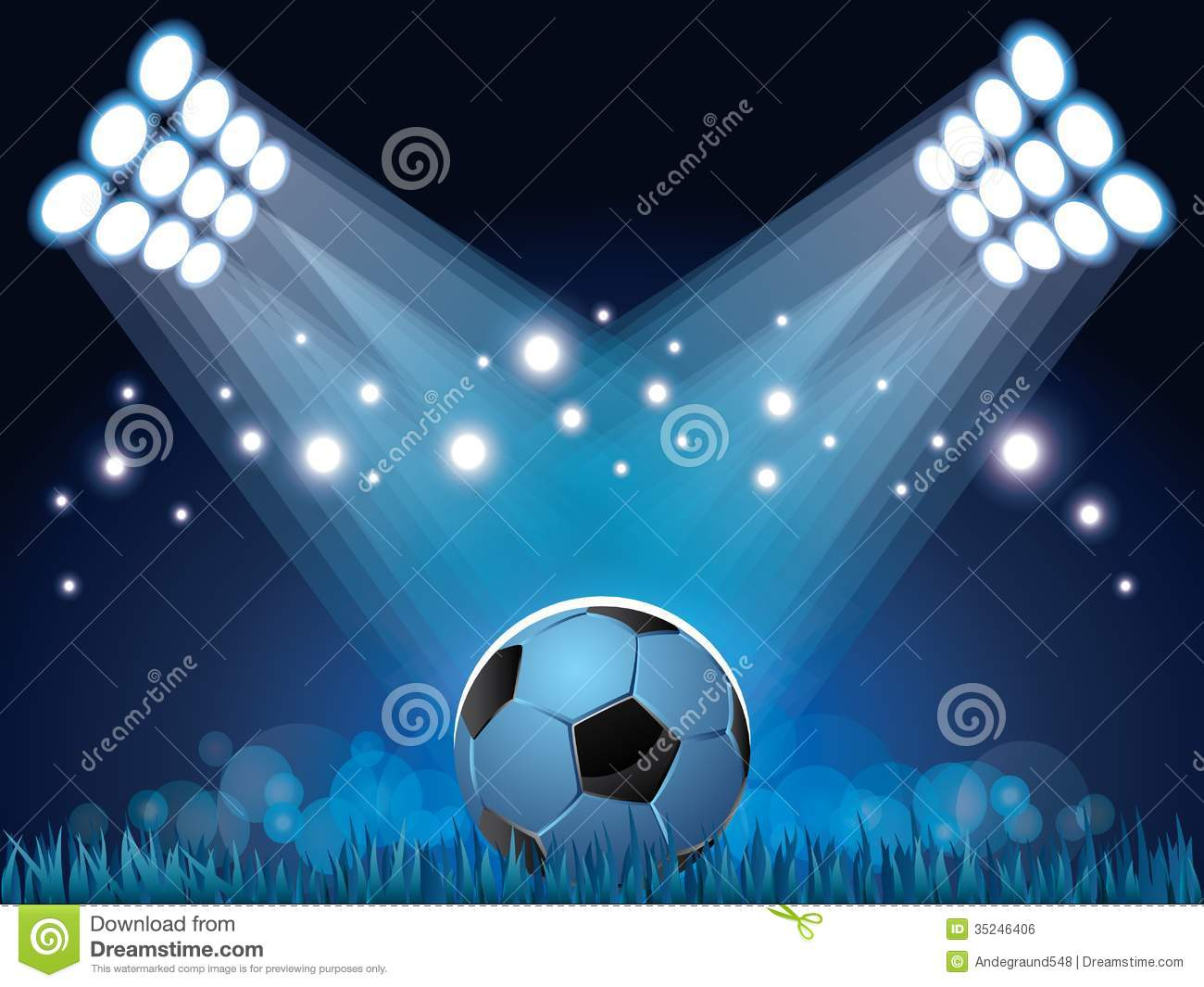 stadium lights and soccer ball background royalty free stock image