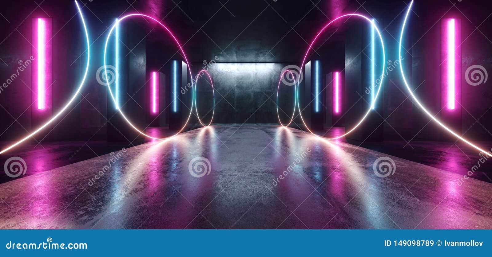 Stadium van de de Tunnelgang van FI Purpere Blue Circle Gestalte gegeven Gloeiende Trillende Lege Ruimtegrunge van neonlichten he