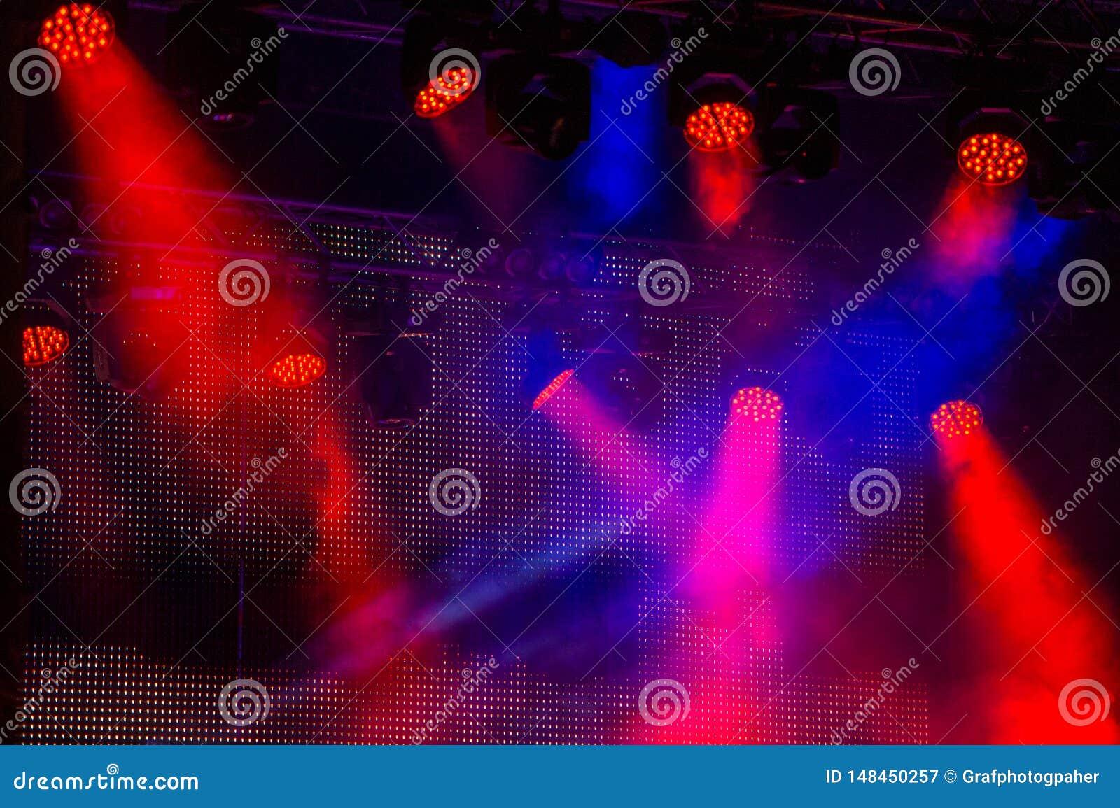 Stadiumverlichting tijdens een overleg van een popgroep