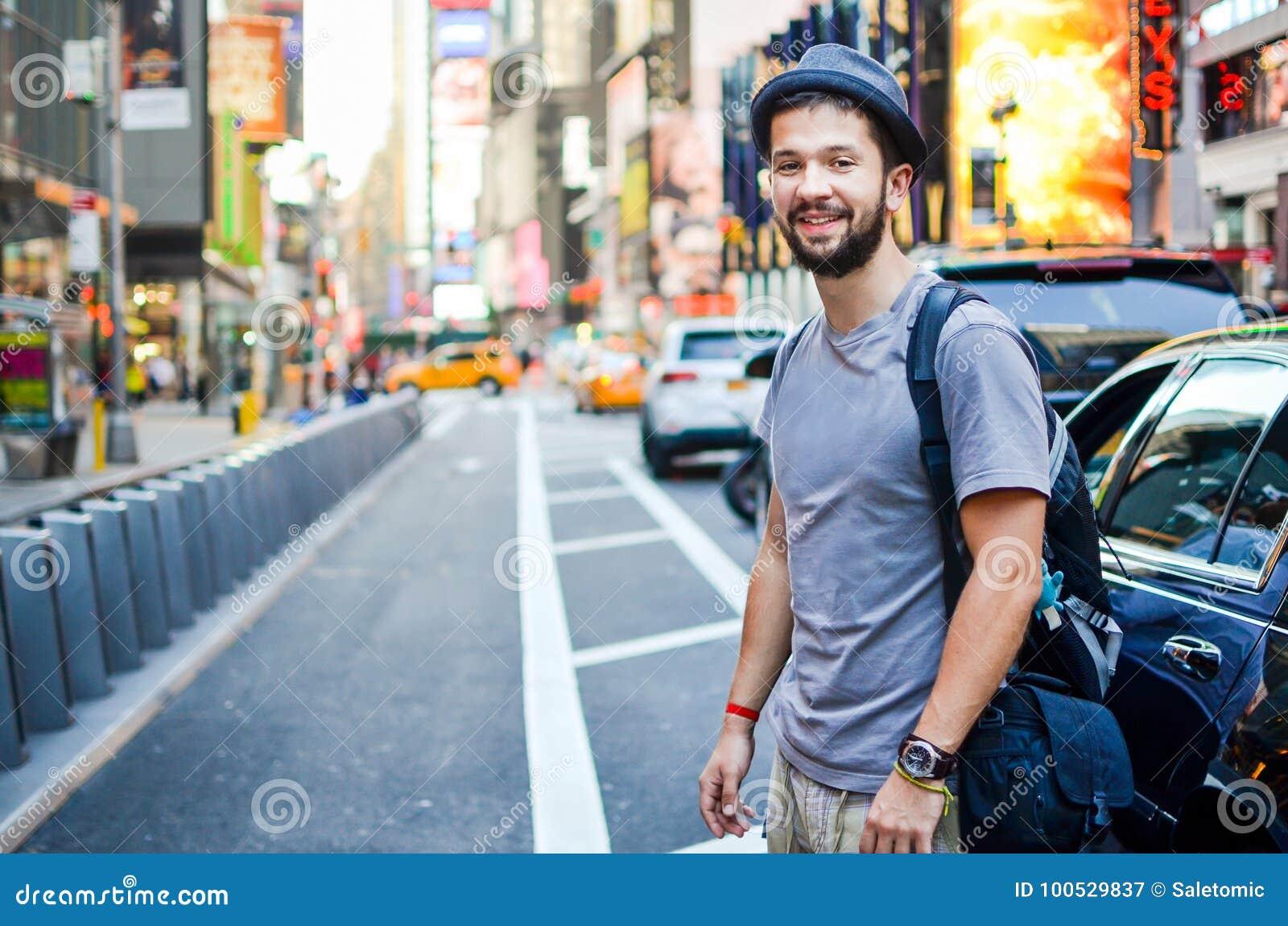 Stads- fyrkant New York, USA för turist tidvis