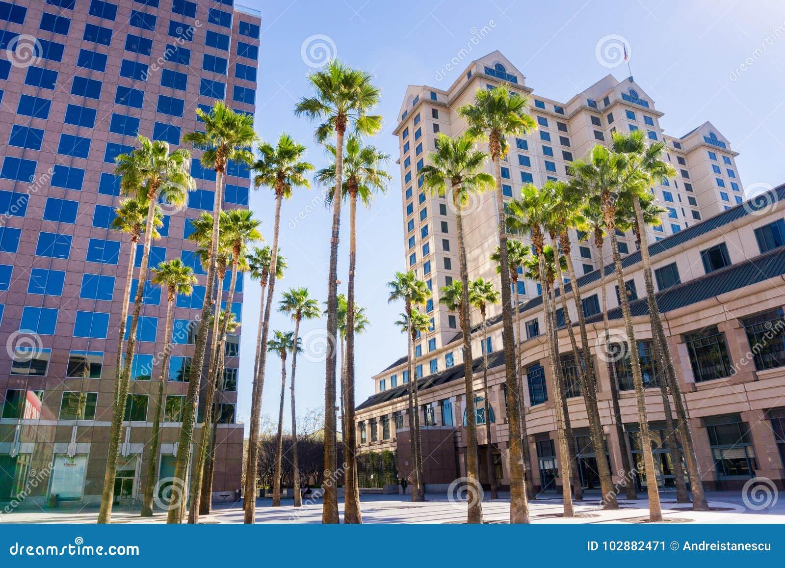 Stads- landskap i i stadens centrum San Jose, Kalifornien