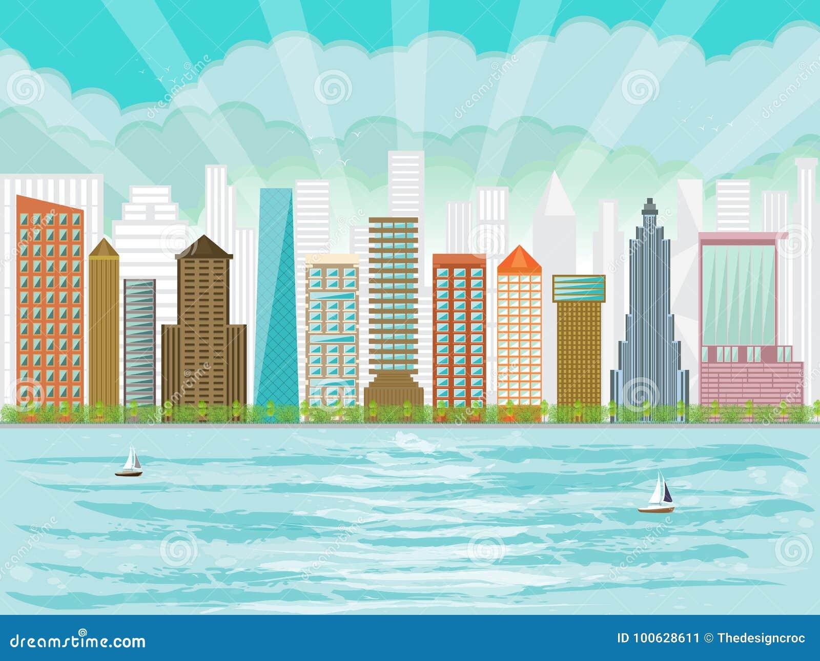 Stads- skyskrapor för stadsstrandhöghus