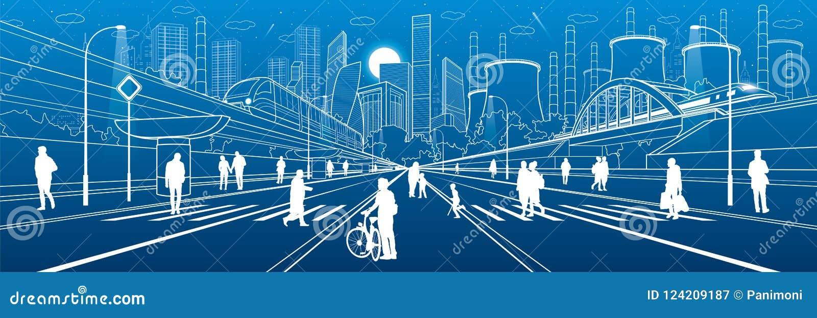 Stads- stadsinfrastrukturillustration Folk som går på gatan modern town Drevflyttning på bron Upplyst huvudväg fabrik