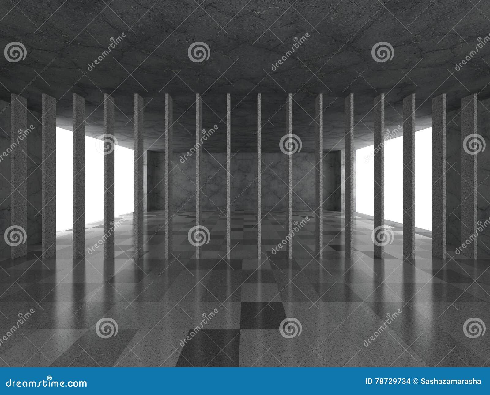 Stads- tom inre för mörkt rum Modern arkitekturabstrakt begreppbac