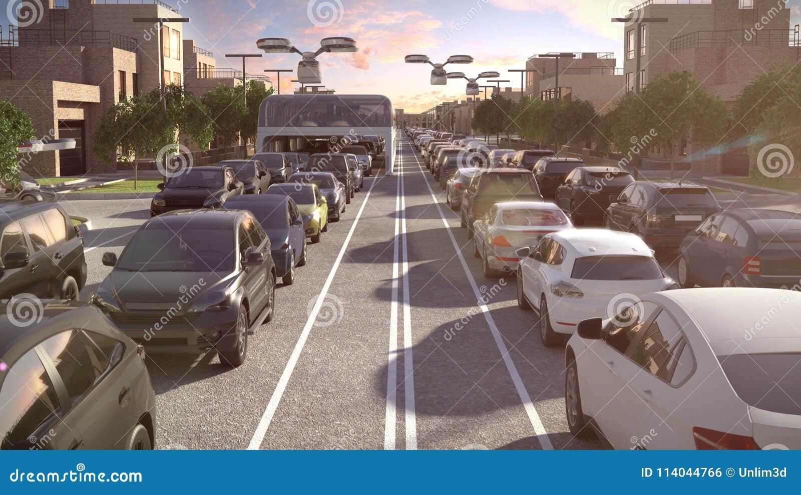 Stadsbuss av framtiden Trafikstockningen skjuten solnedgångtid för exponering long illustration 3d