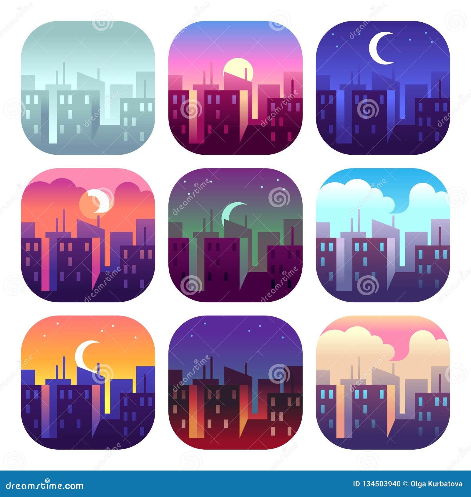 Stadsdagtider Ottasoluppgångsolnedgång, middag och skymningafton, byggnader för nattcityscapeskyskrapor Stads- uppsättning