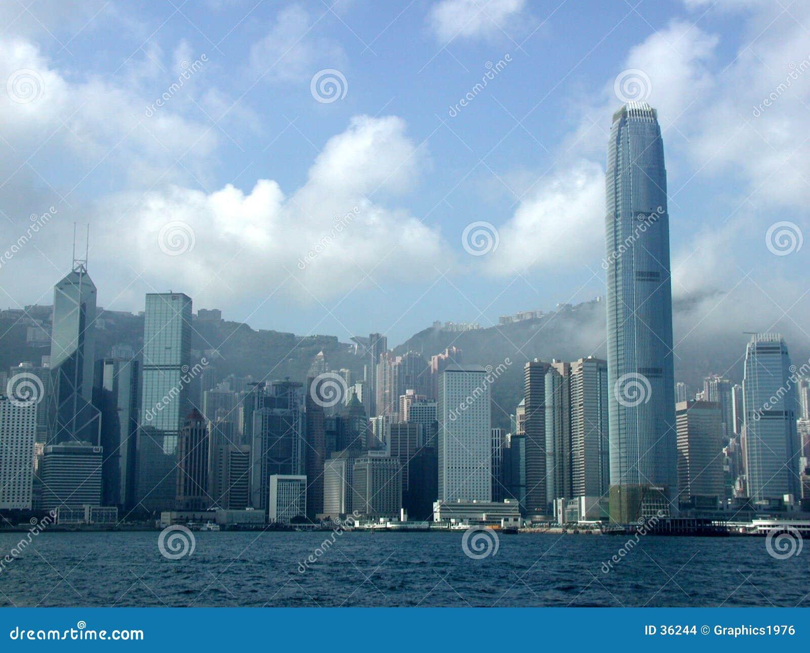 StadsHong Kong skyskrapor