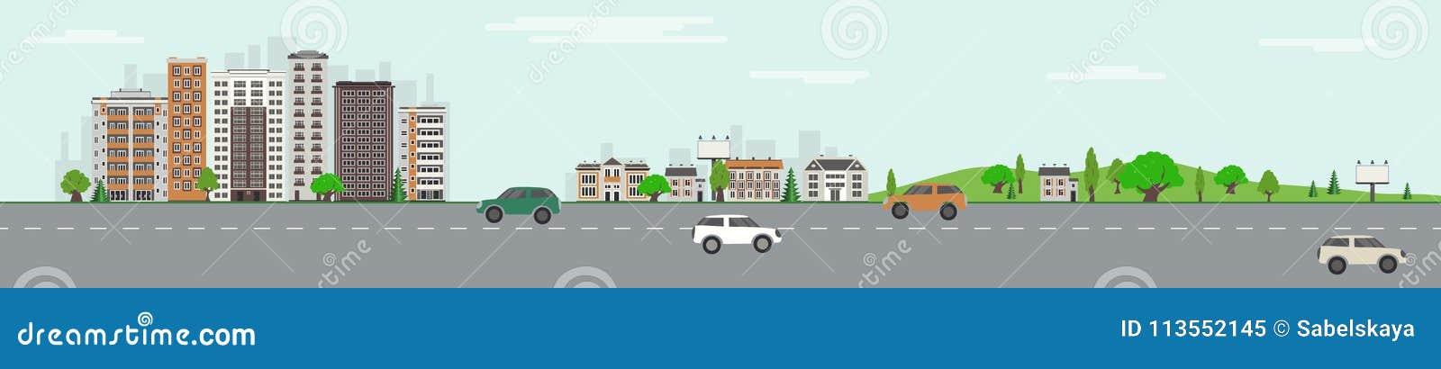 Stadshorizon met wolkenkrabbers, openbaar park met groen bomen en gazon en weg met voertuigen
