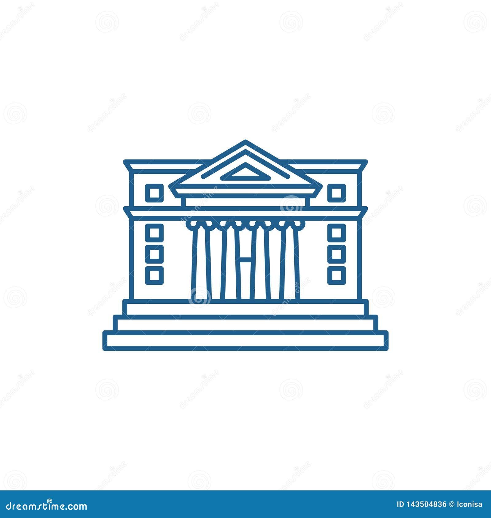 Stadshuslinje symbolsbegrepp Plant vektorsymbol för stadshus, tecken, översiktsillustration