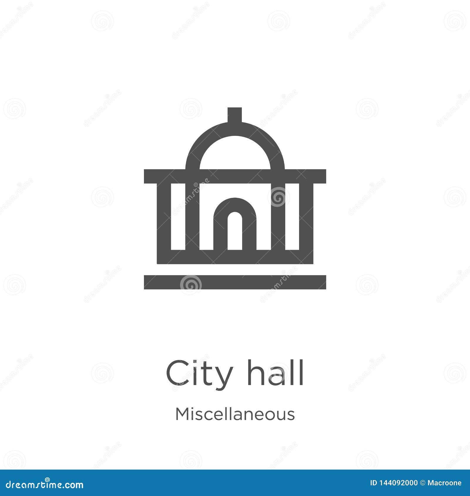 Stadshussymbolsvektor från diverse samling Tunn linje illustration för vektor för stadshusöversiktssymbol Översikt tunn linje sta