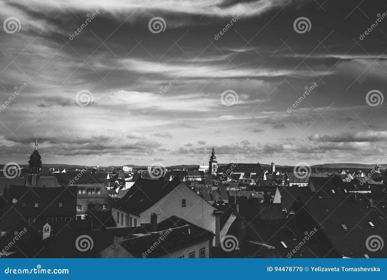 Stadsmening van Nuremberg, een stad in Franconia in de Duitse staat van Beieren