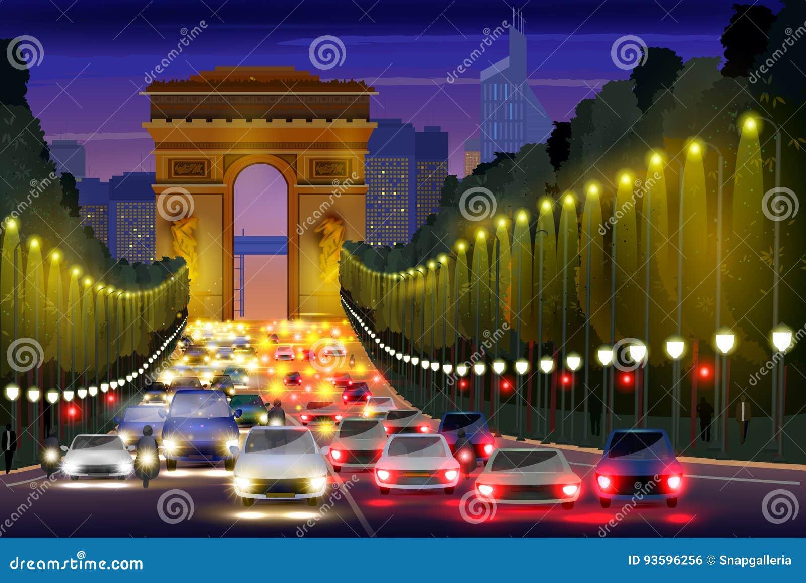 Stadsnachtleven van de Straat Parijs, Frankrijk van Champs Elysees