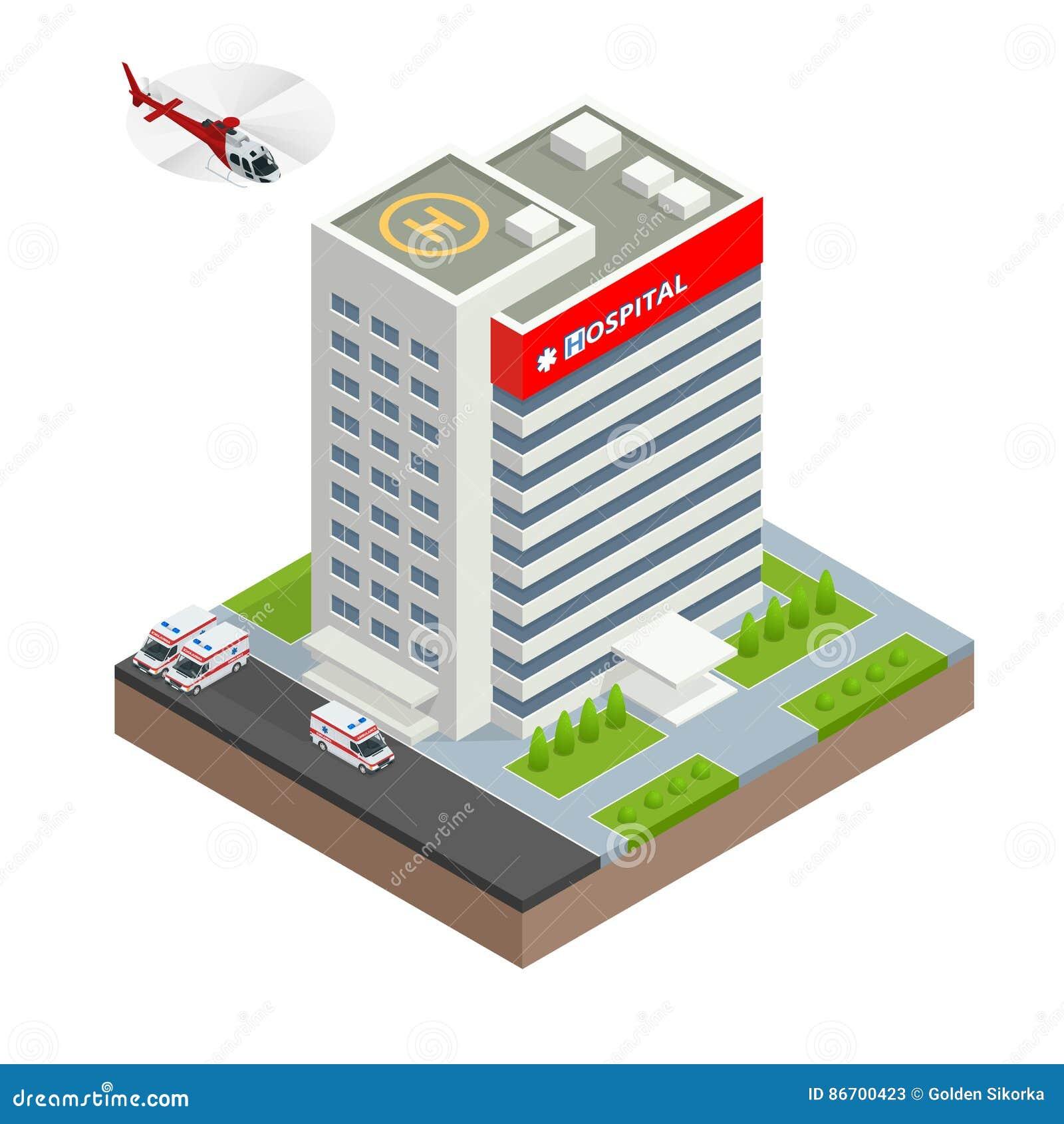 Stadssjukhusbyggnad med den ambulansbilen och helikoptern i plan design Isometrisk vektorillustration