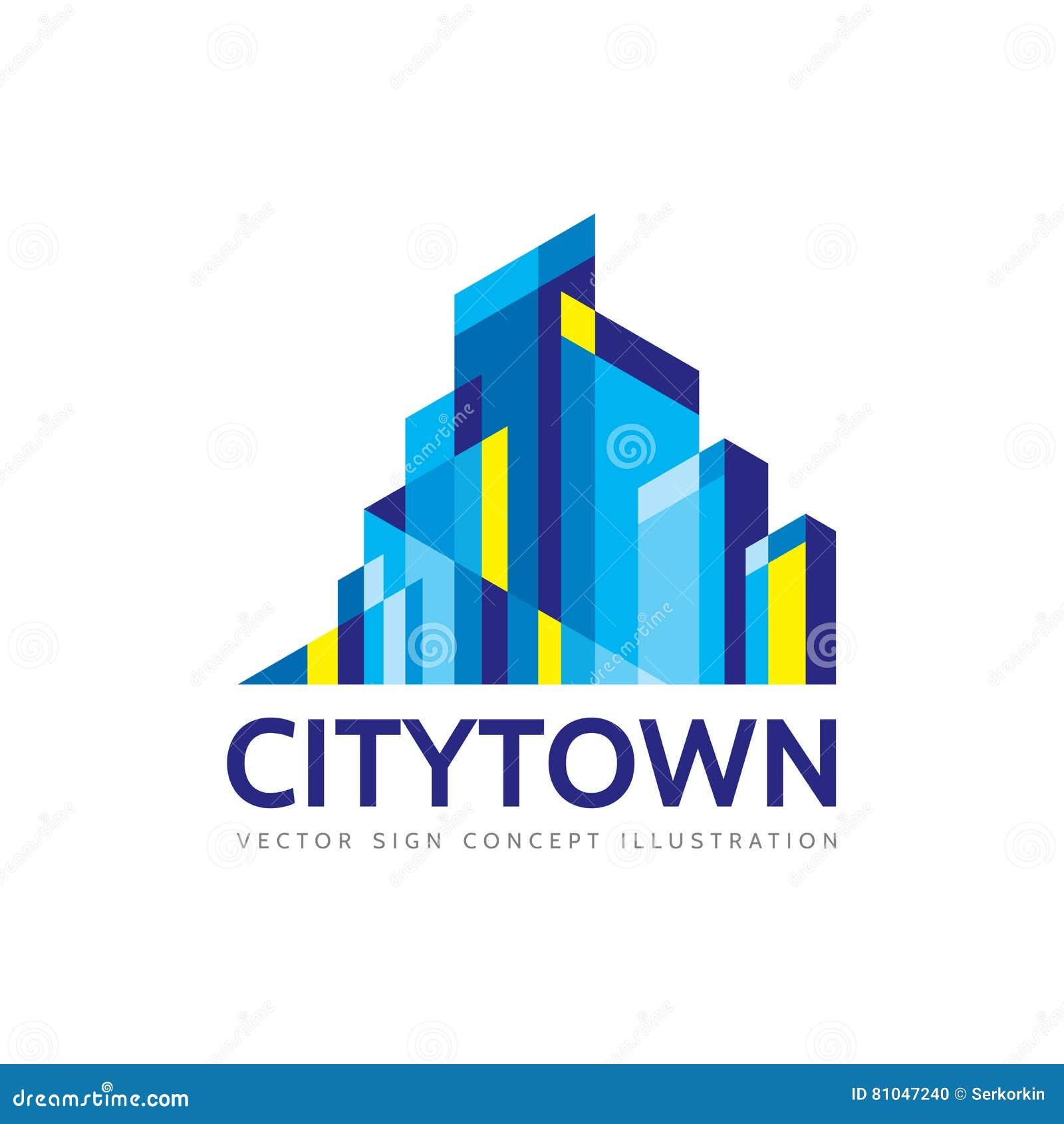 Stadsstad - de illustratie van het het malplaatjeconcept van het onroerende goederenembleem