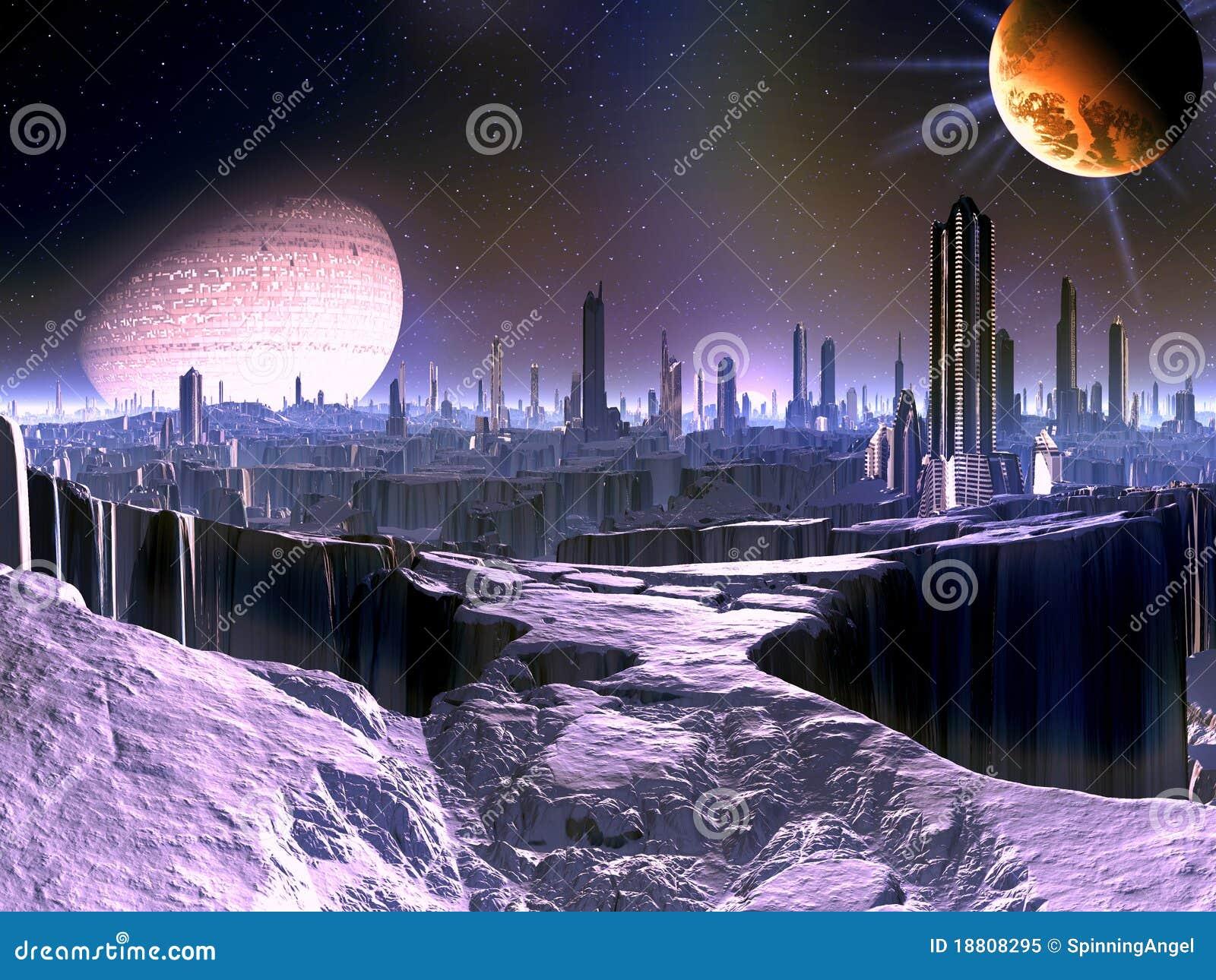 Stadt auf sterbender ausländischer Welt mit Satellitenlieferung in O