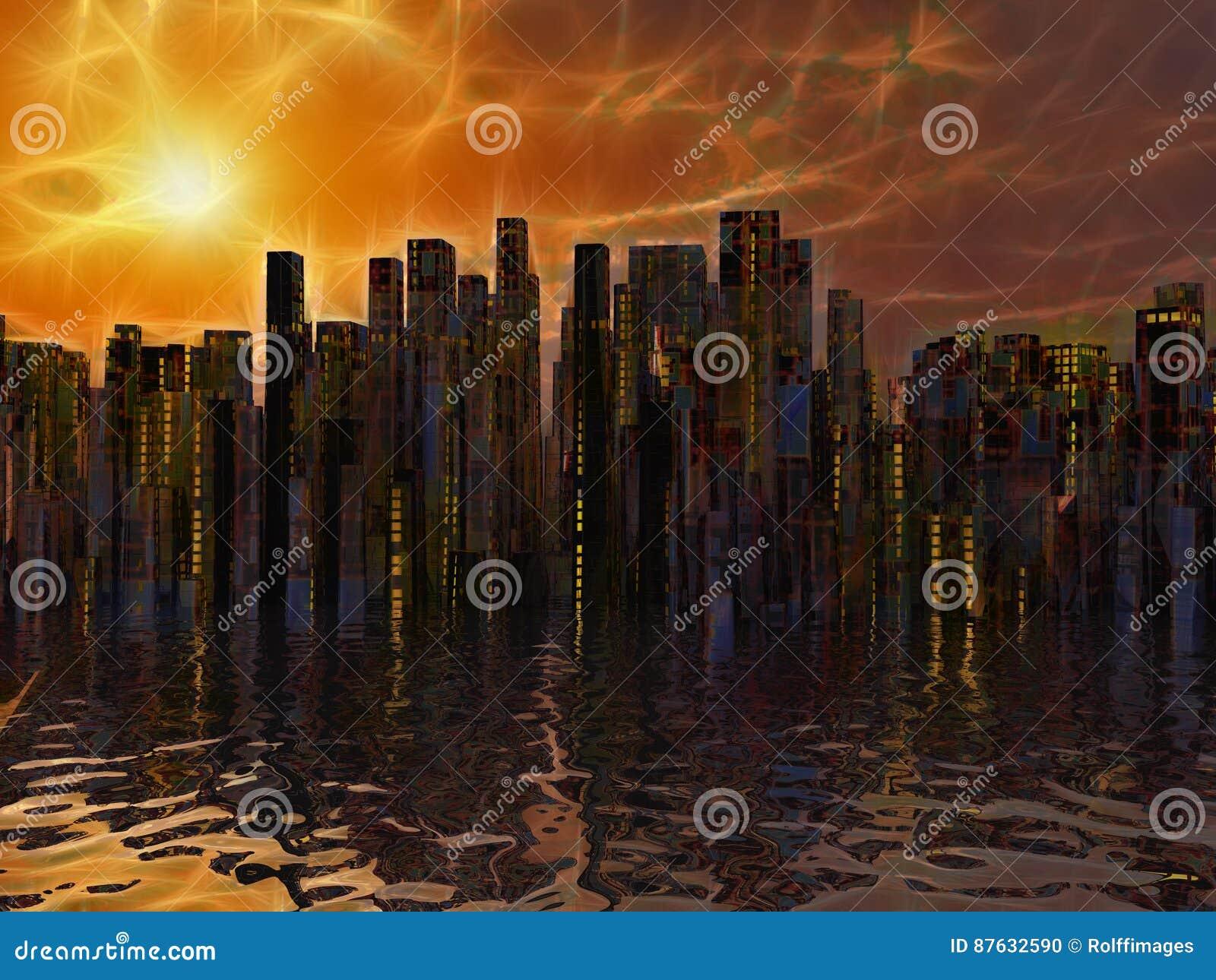 Stadt auf Wasser