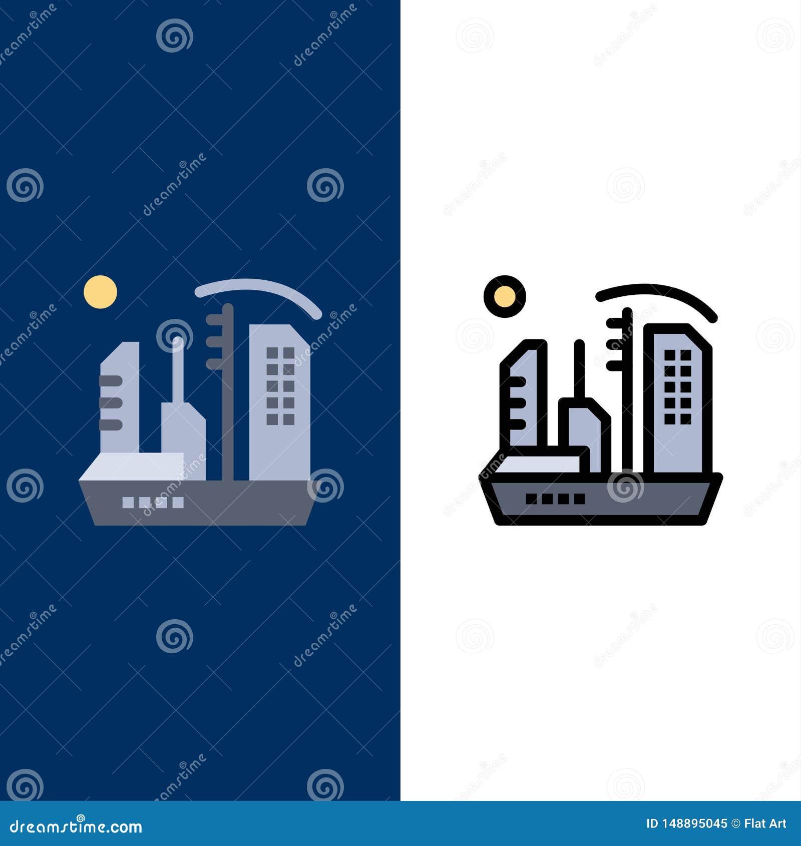 Stadt, Besiedlung, Kolonie, Haube, Expansions-Ikonen Ebene und Linie gefüllte Ikone stellten Vektor-blauen Hintergrund ein