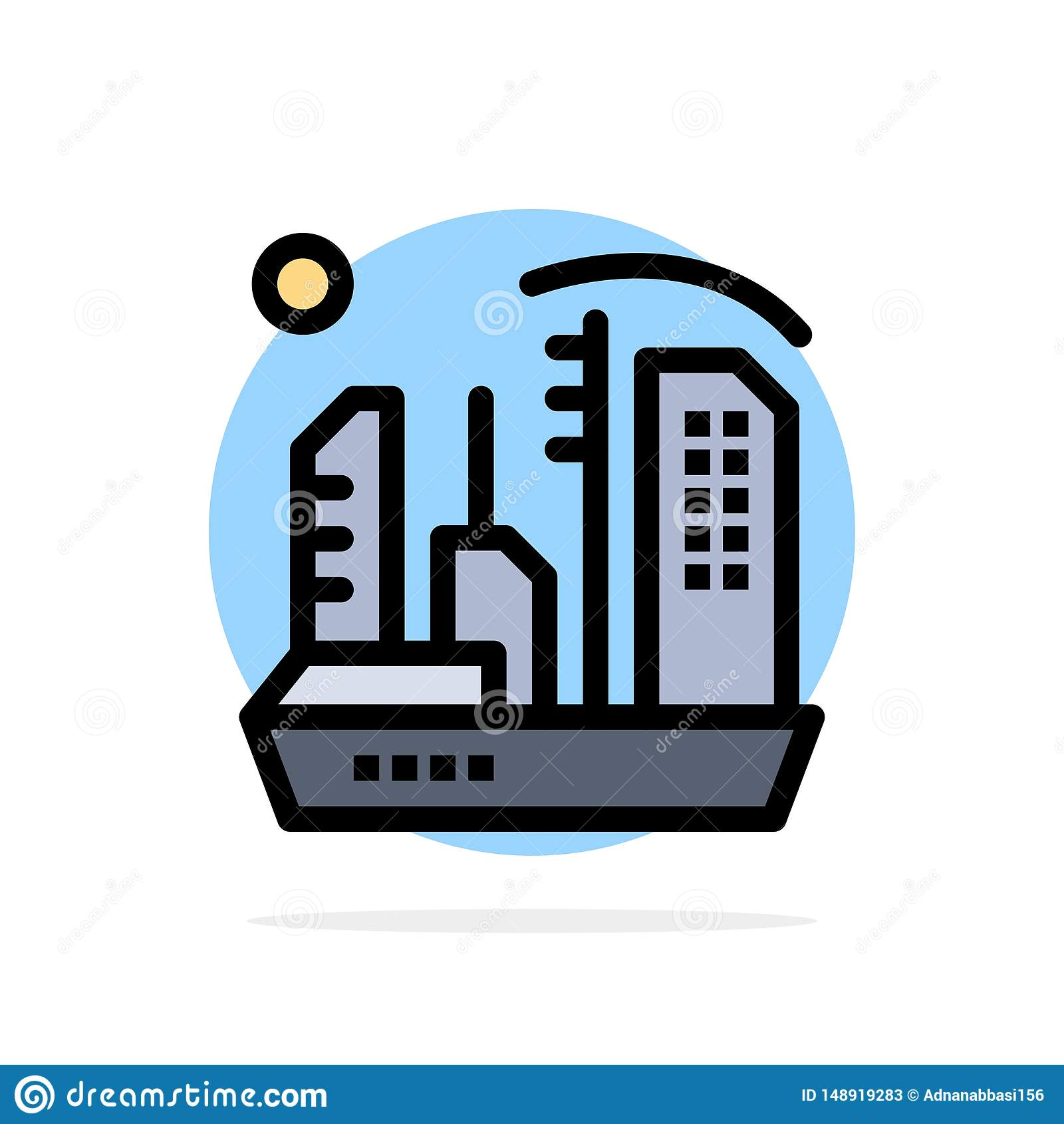 Stadt, Besiedlung, Kolonie, Haube, flache Ikone Farbe Expansions-des abstrakten Kreis-Hintergrundes