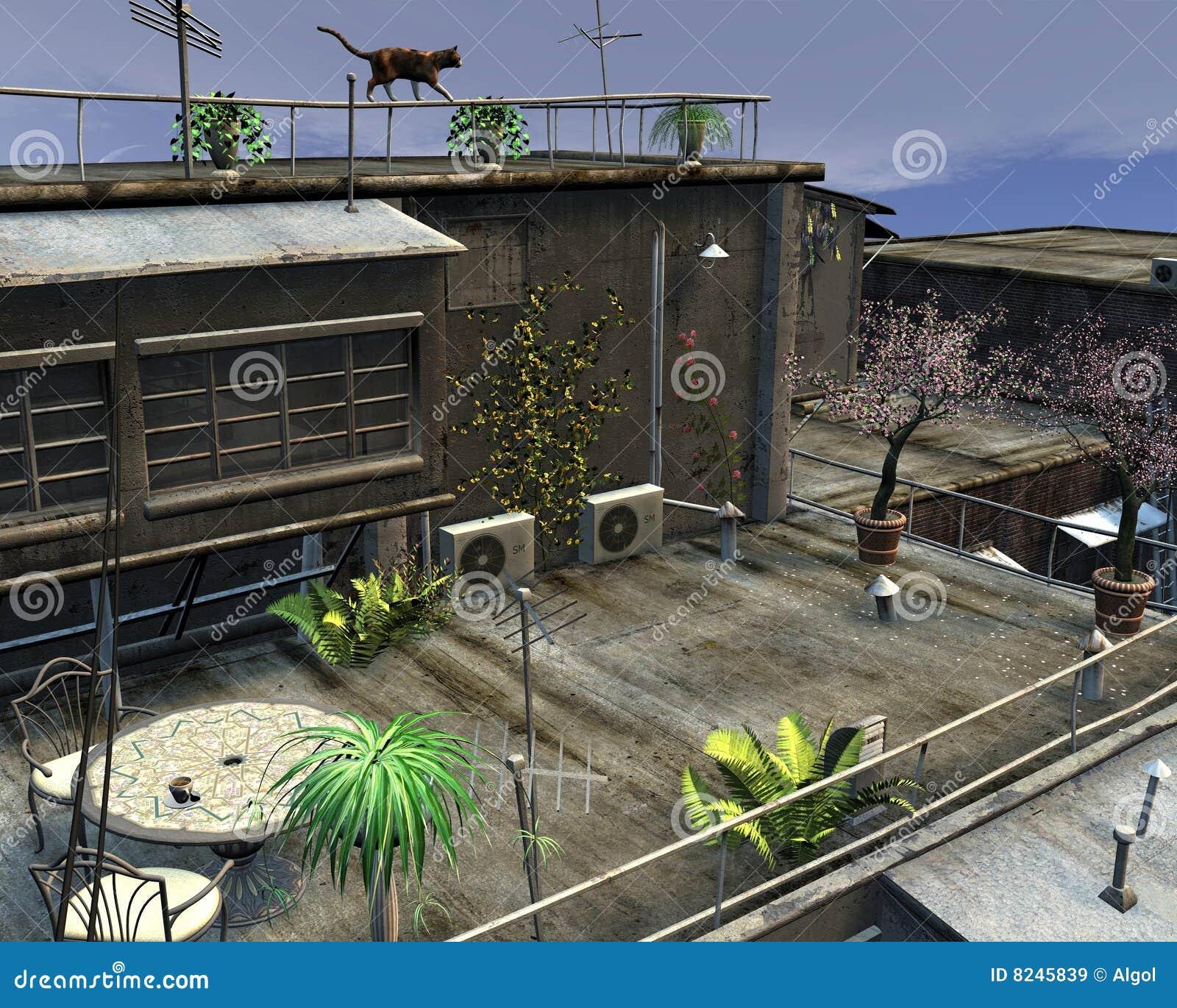 Stadt Dach Garten