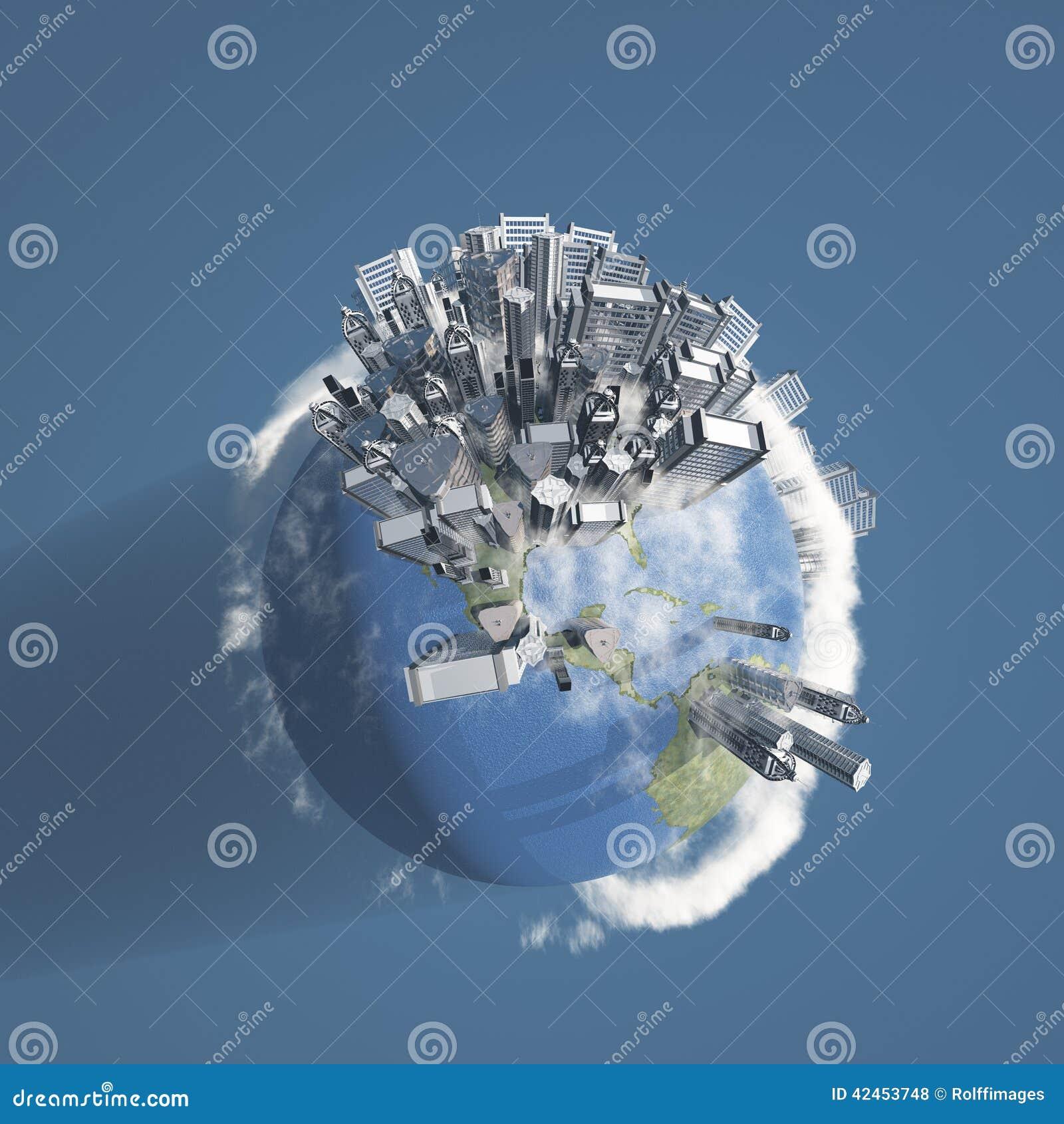 Stadt-Erde mit Wolken