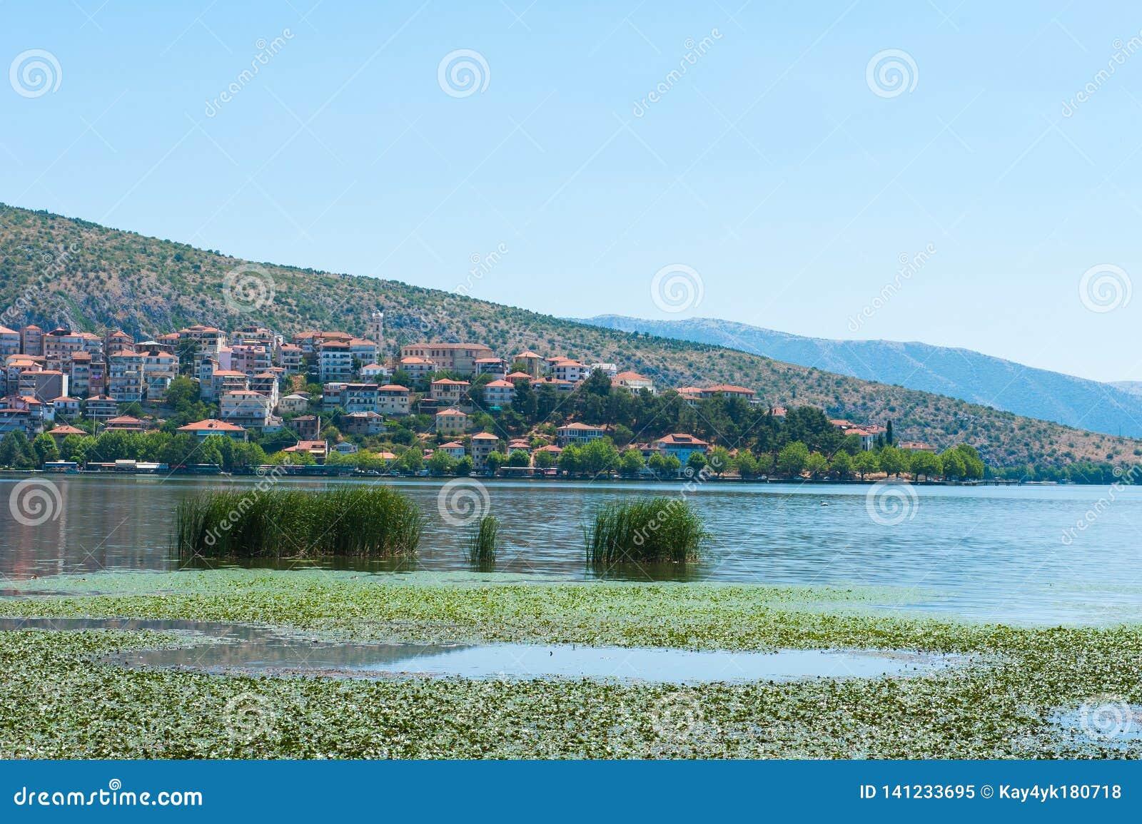 Stadt mit orange Dächern durch den See