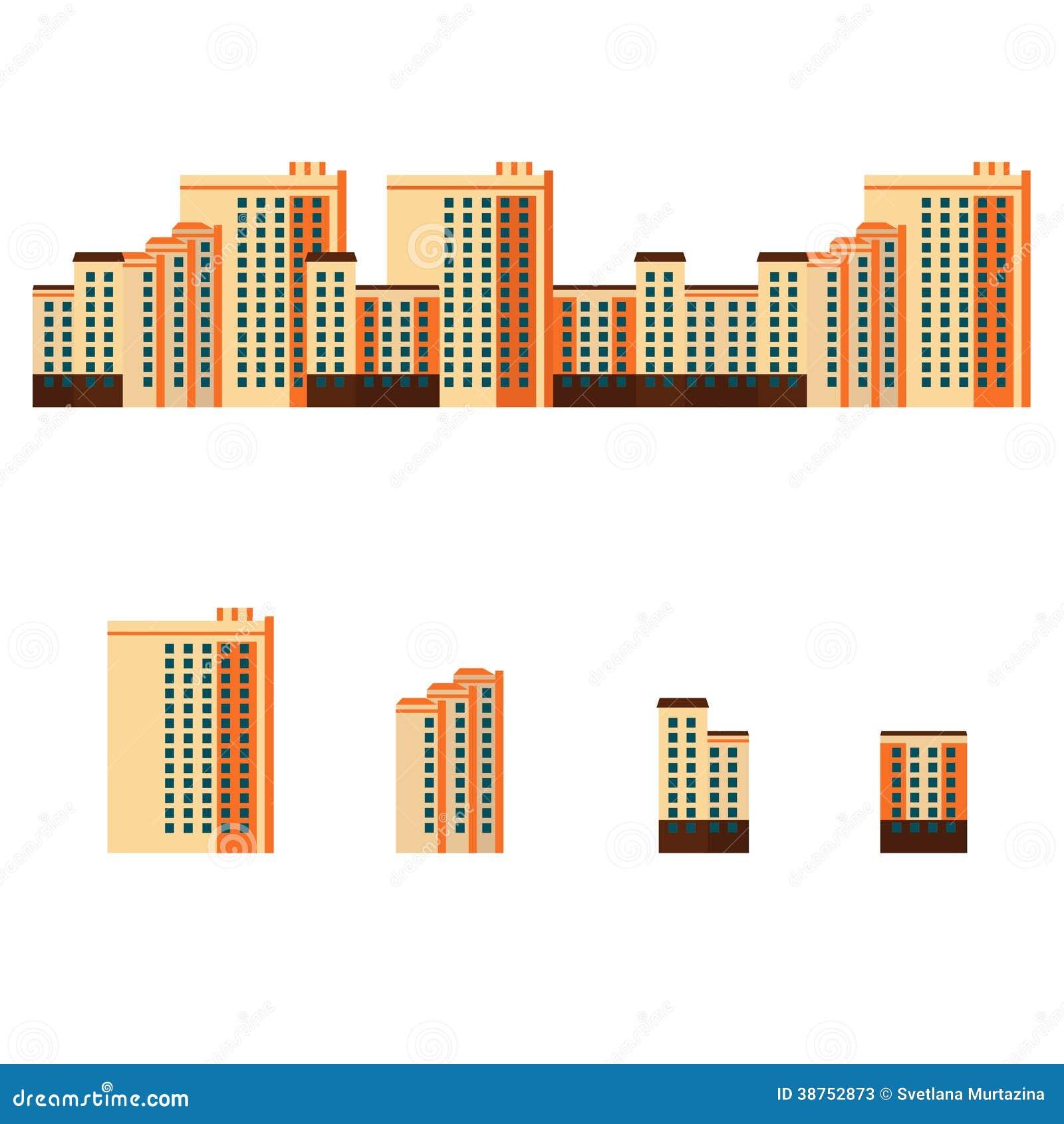 Stadt mit Wohngebäuden