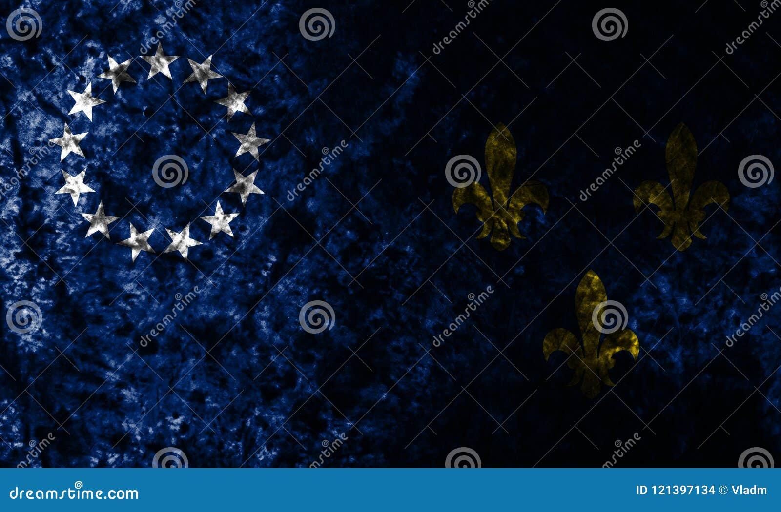 Stadt-Schmutzflagge Louisvilles alte auf alter schmutziger Wand, Staat Kentucky, Vereinigte Staaten von