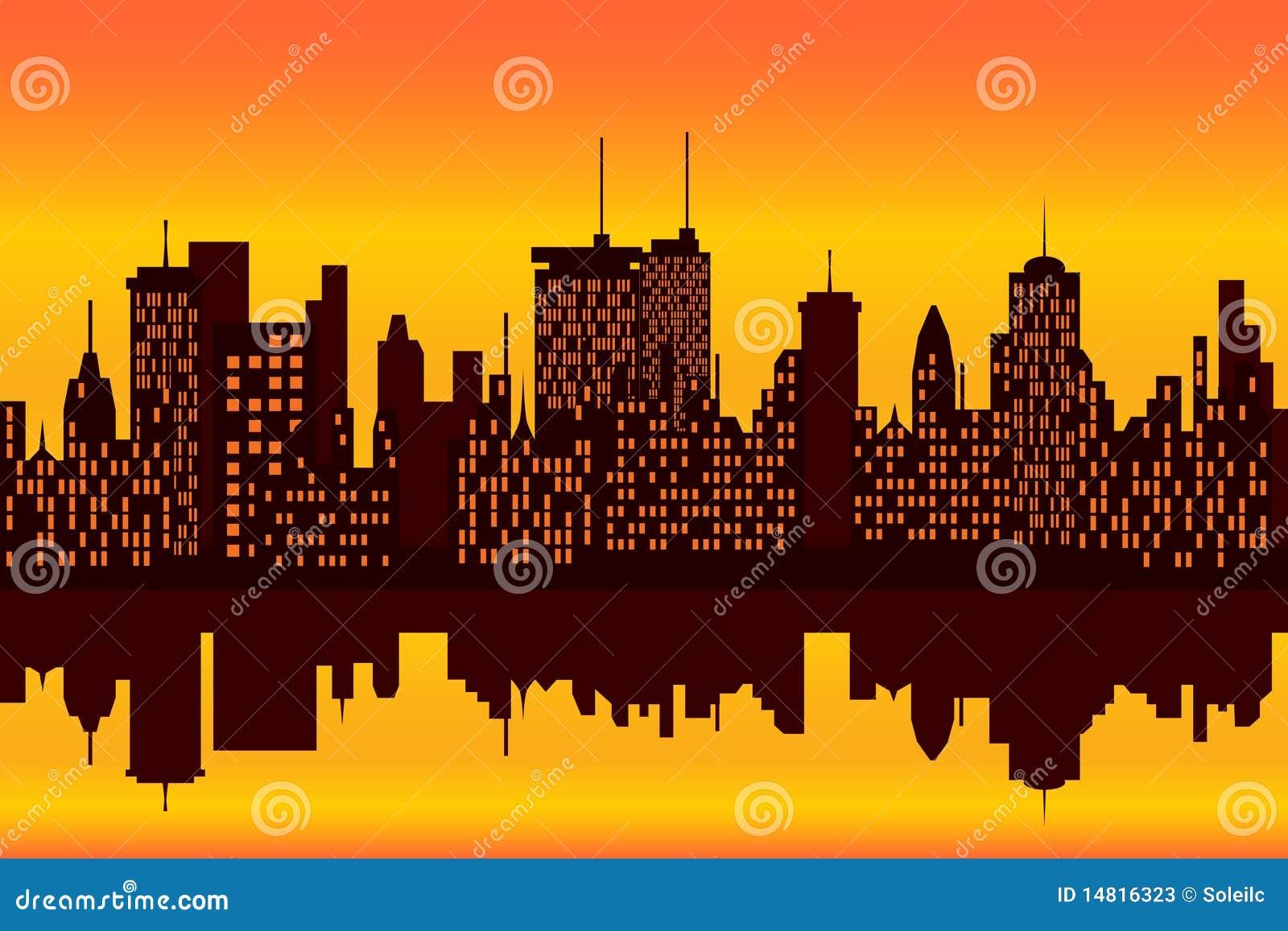 Stadt skyline am sonnenuntergang oder am sonnenaufgang - Dessin coucher de soleil ...