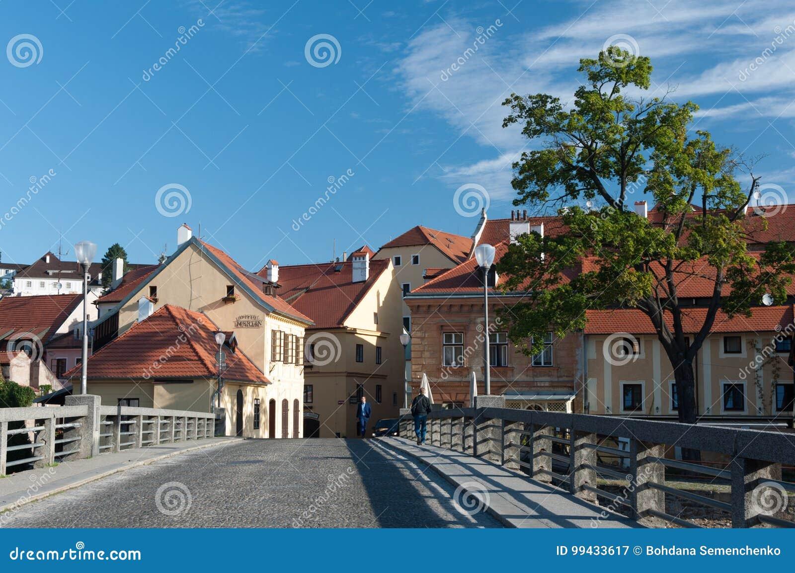 Stadt am sonnigen Tag, Cesky Krumlov, Tschechische Republik